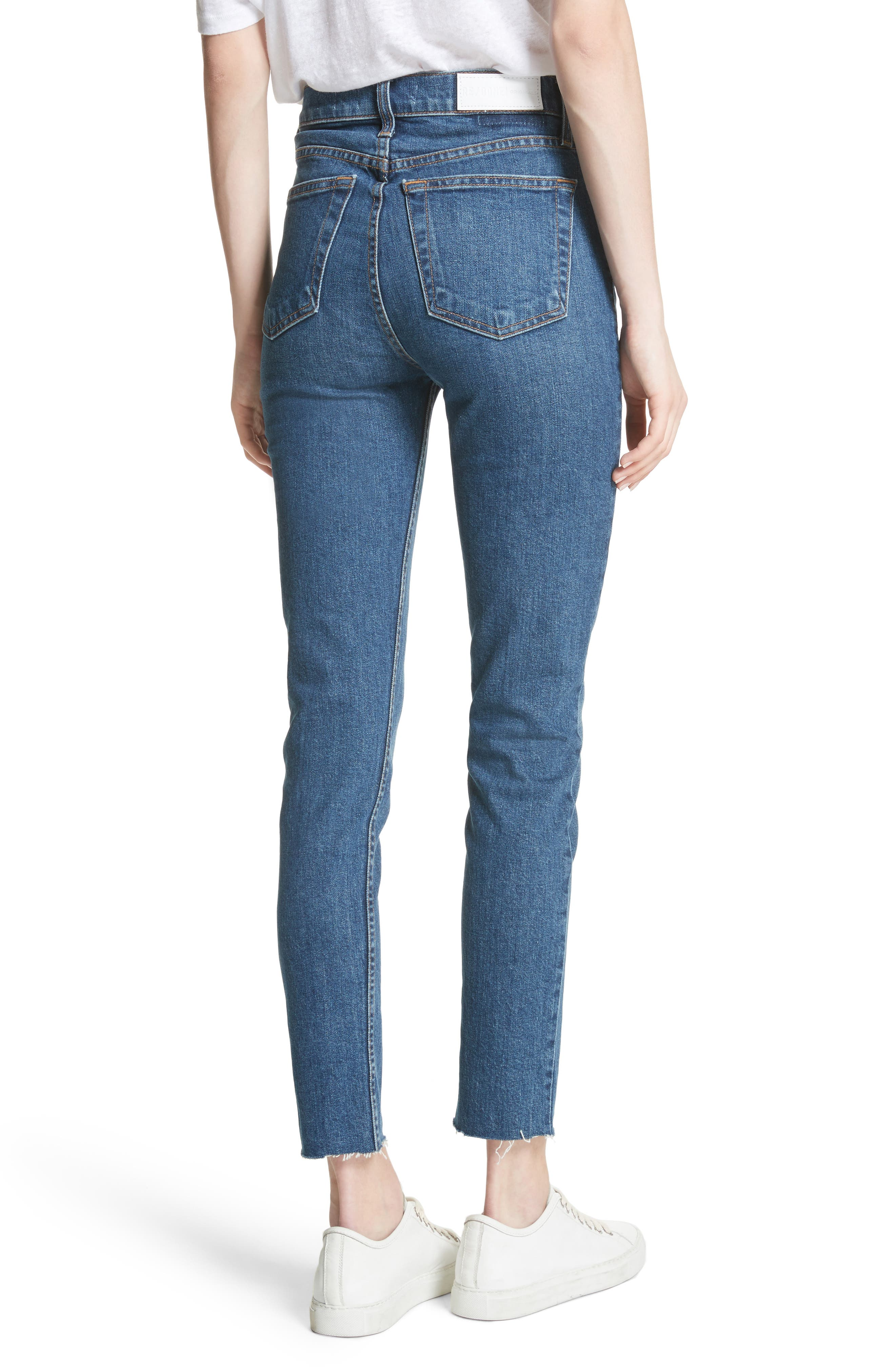 High Waist Stretch Crop Jeans,                             Alternate thumbnail 2, color,                             FOREVER RINSE
