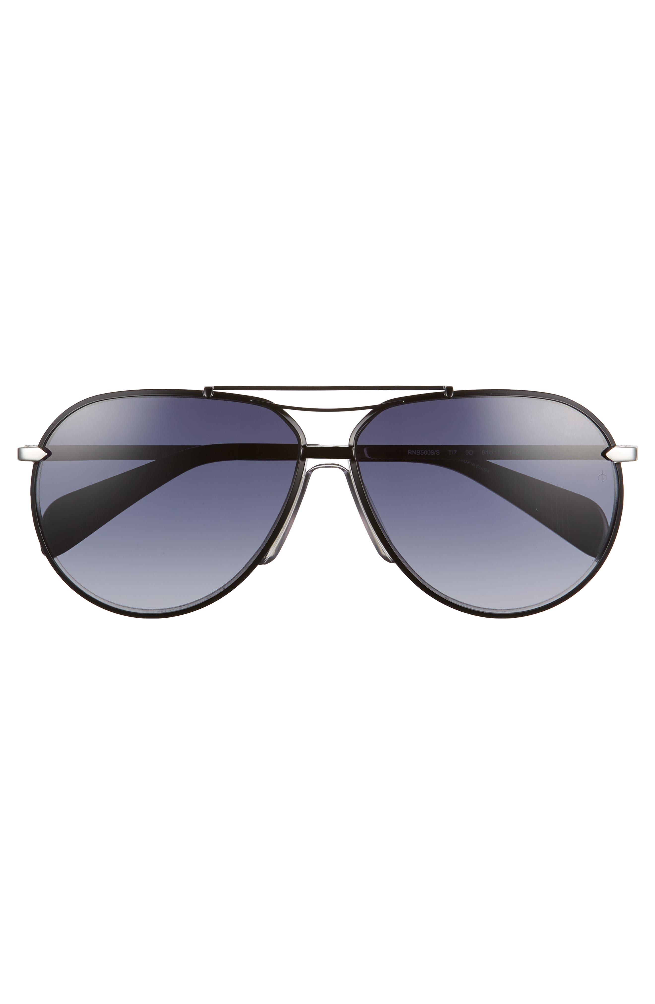 61mm Aviator Gradient Sunglasses,                             Alternate thumbnail 2, color,                             RUTHENIUM/ MATTE BLACK