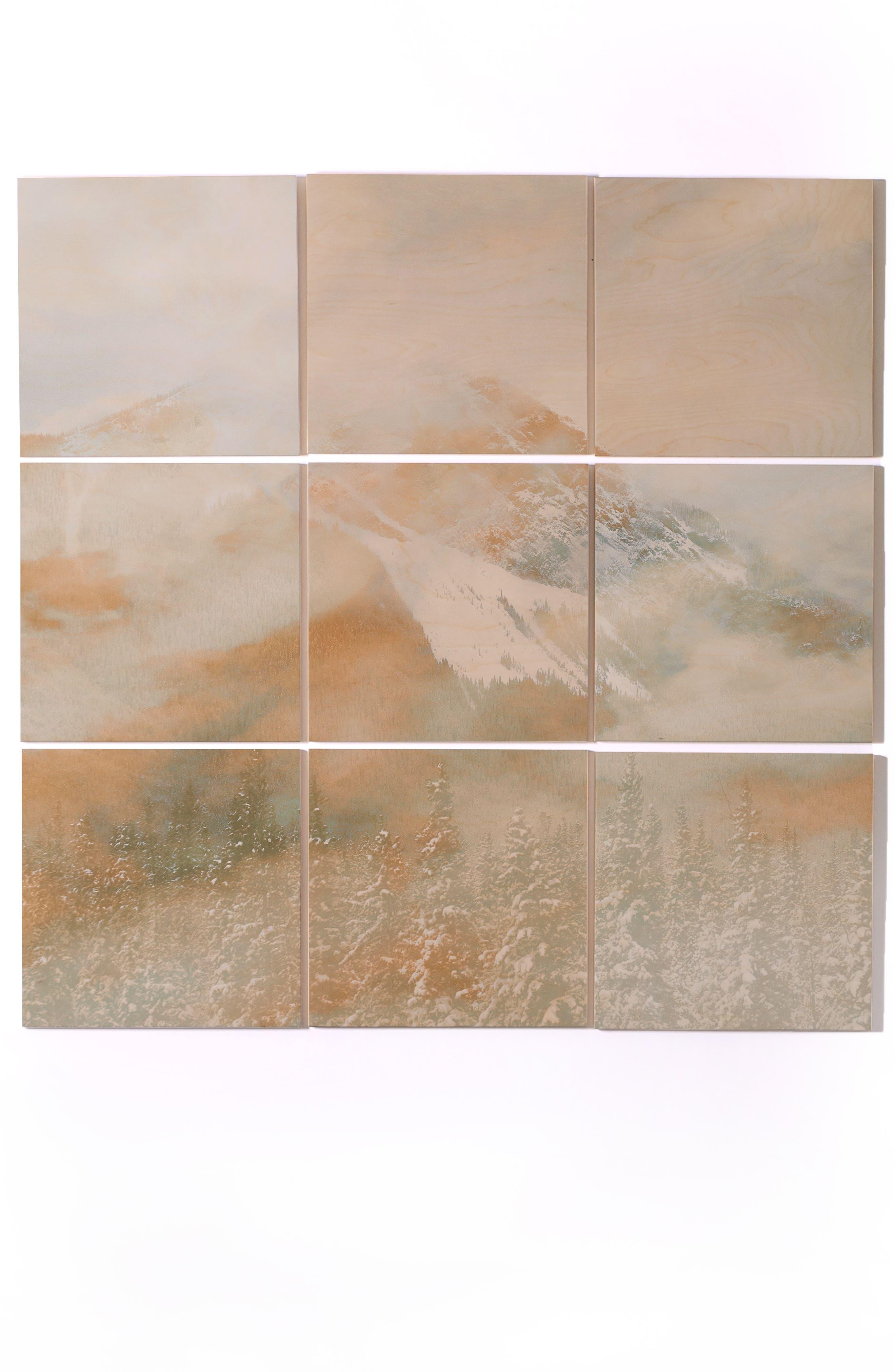 Golden Banff 9-Piece Wood Wall Mural,                         Main,                         color, GRAY/ GOLD