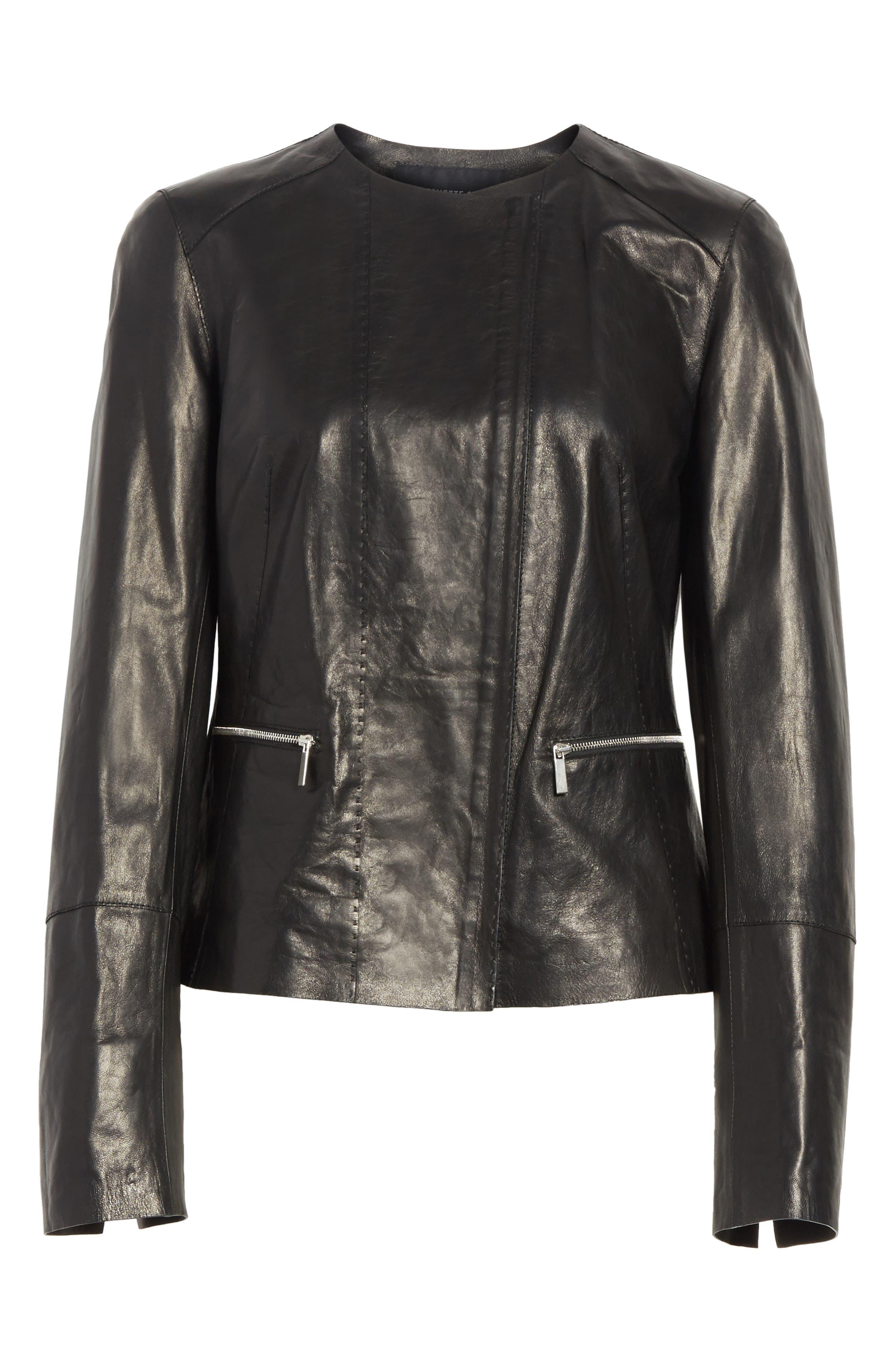 Caridee Glazed Lambskin Leather Jacket,                             Alternate thumbnail 5, color,                             001