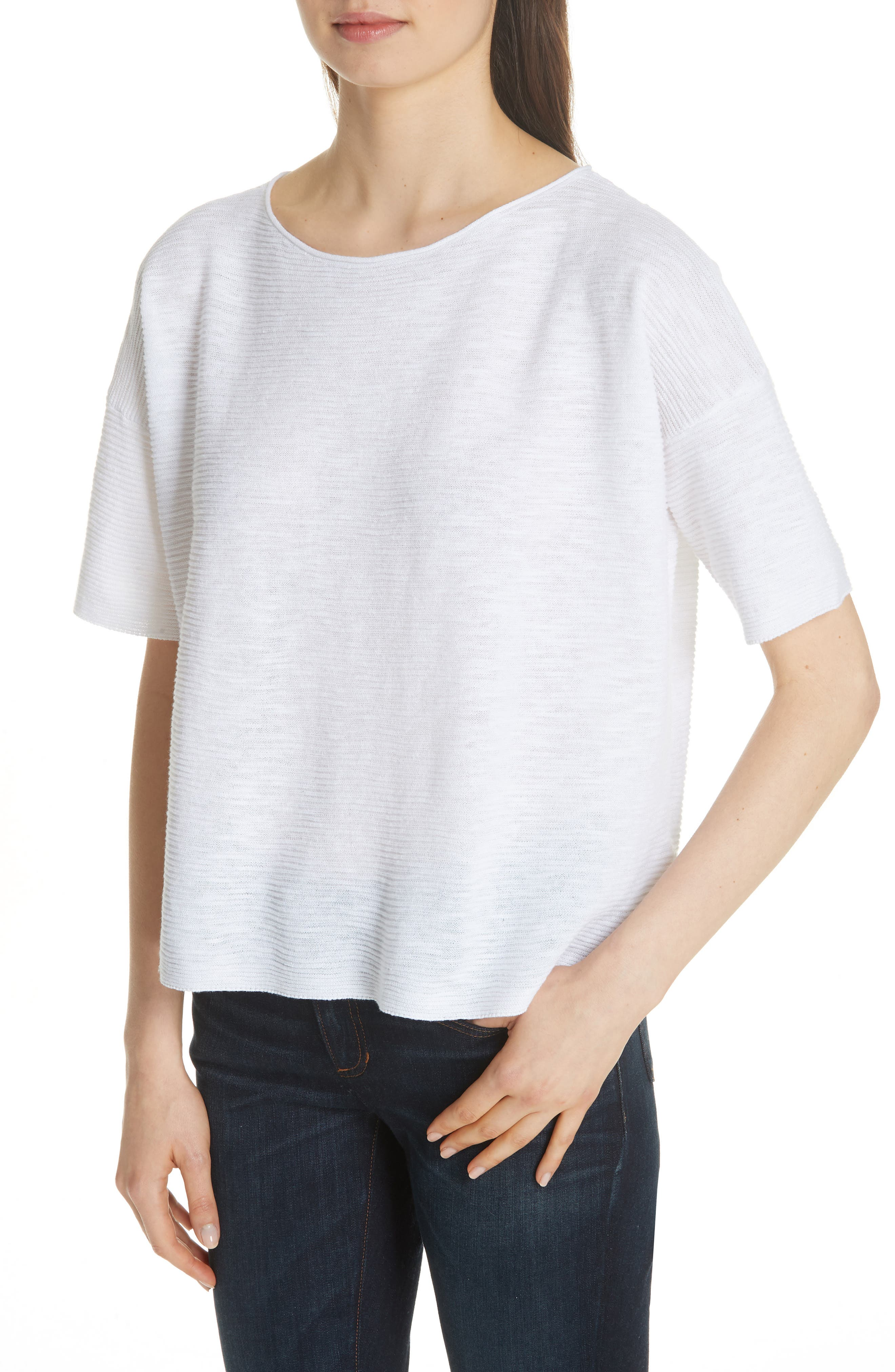 Bateau Neck Linen & Cotton Box Top,                             Alternate thumbnail 4, color,                             100
