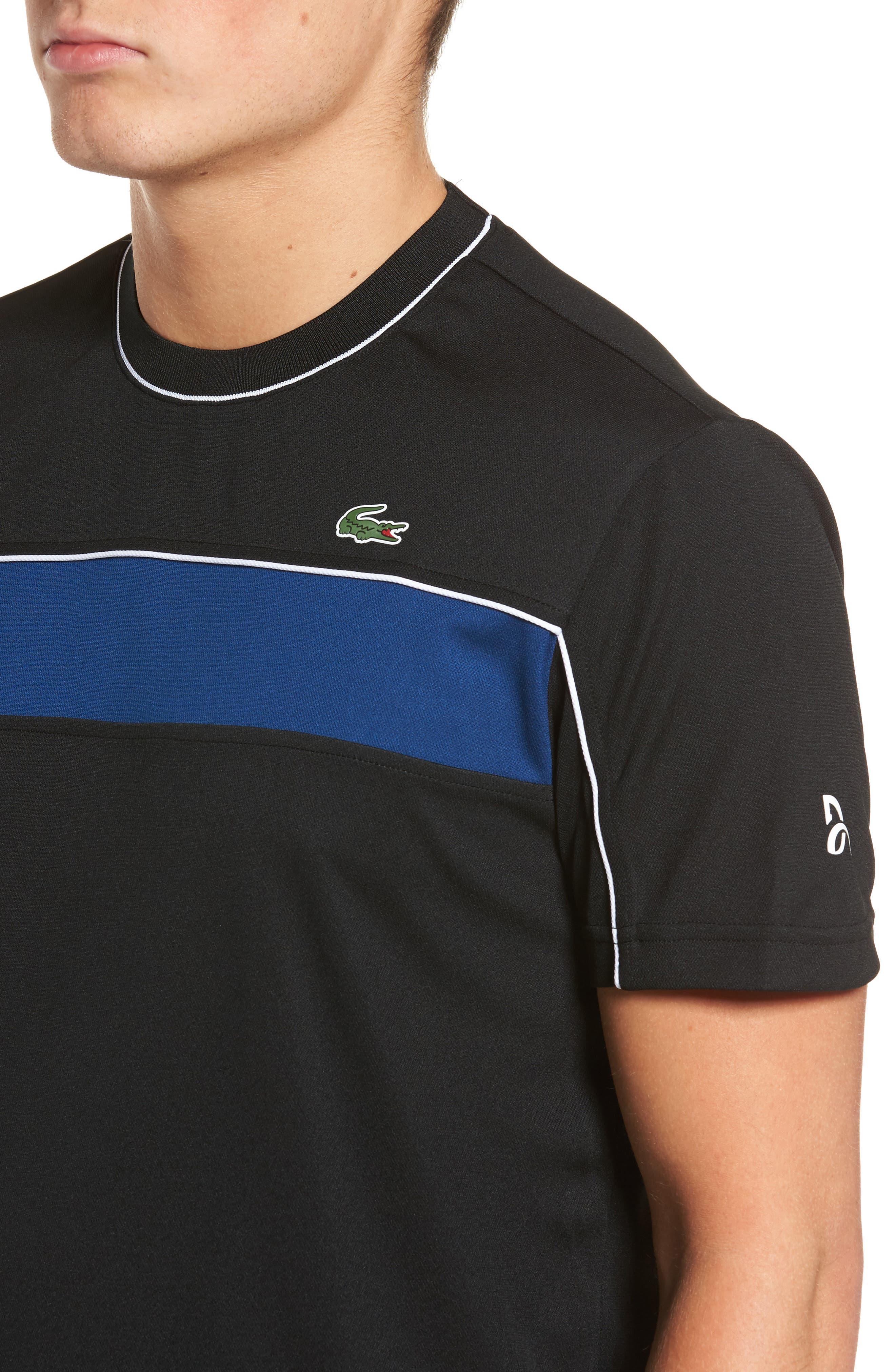 Piqué T-Shirt,                             Alternate thumbnail 4, color,                             BLACK/ MARINO/ WHITE