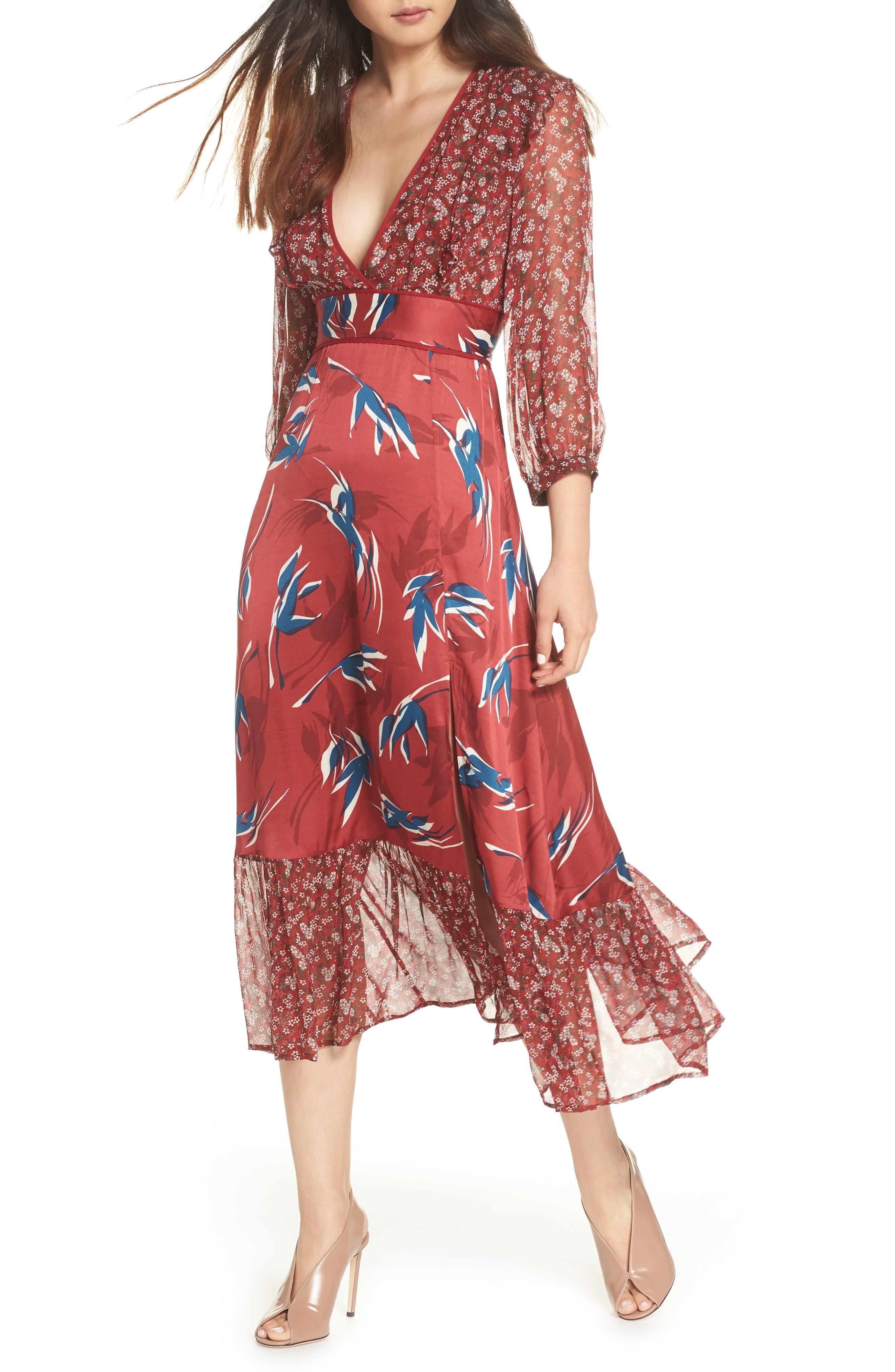 Mixed Print Midi Dress,                         Main,                         color, RED MULTI