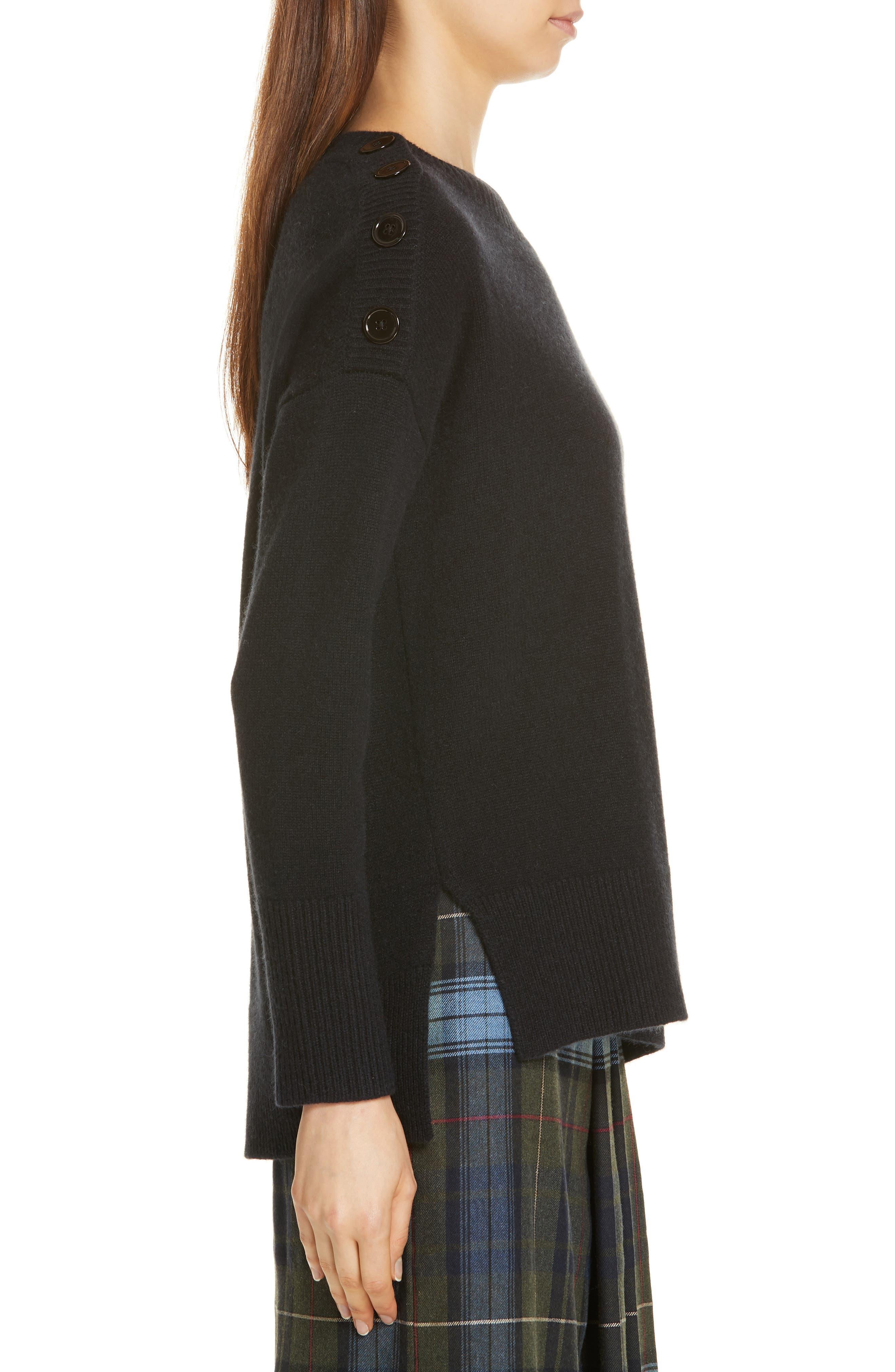 Button Shoulder Cashmere Sweater,                             Alternate thumbnail 3, color,                             BLACK