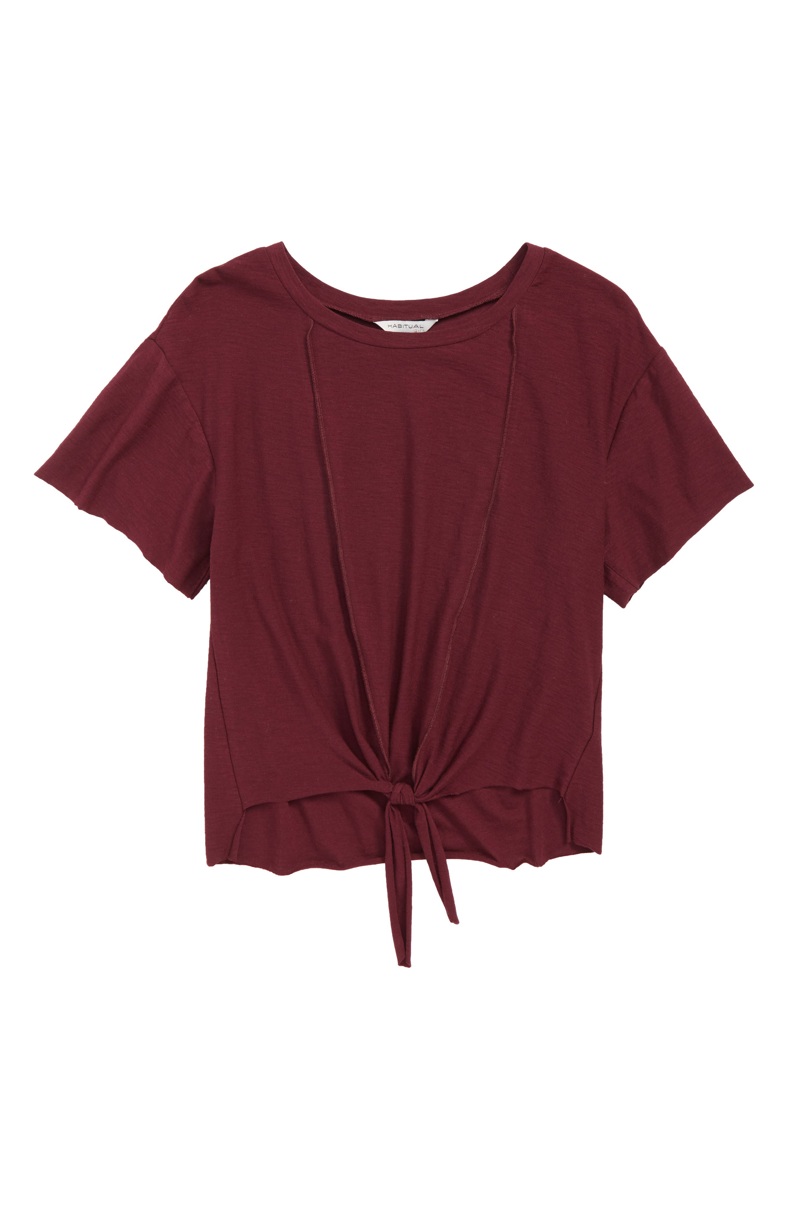 Nicole Tie-Front Tee,                             Main thumbnail 1, color,                             BURGUNDY