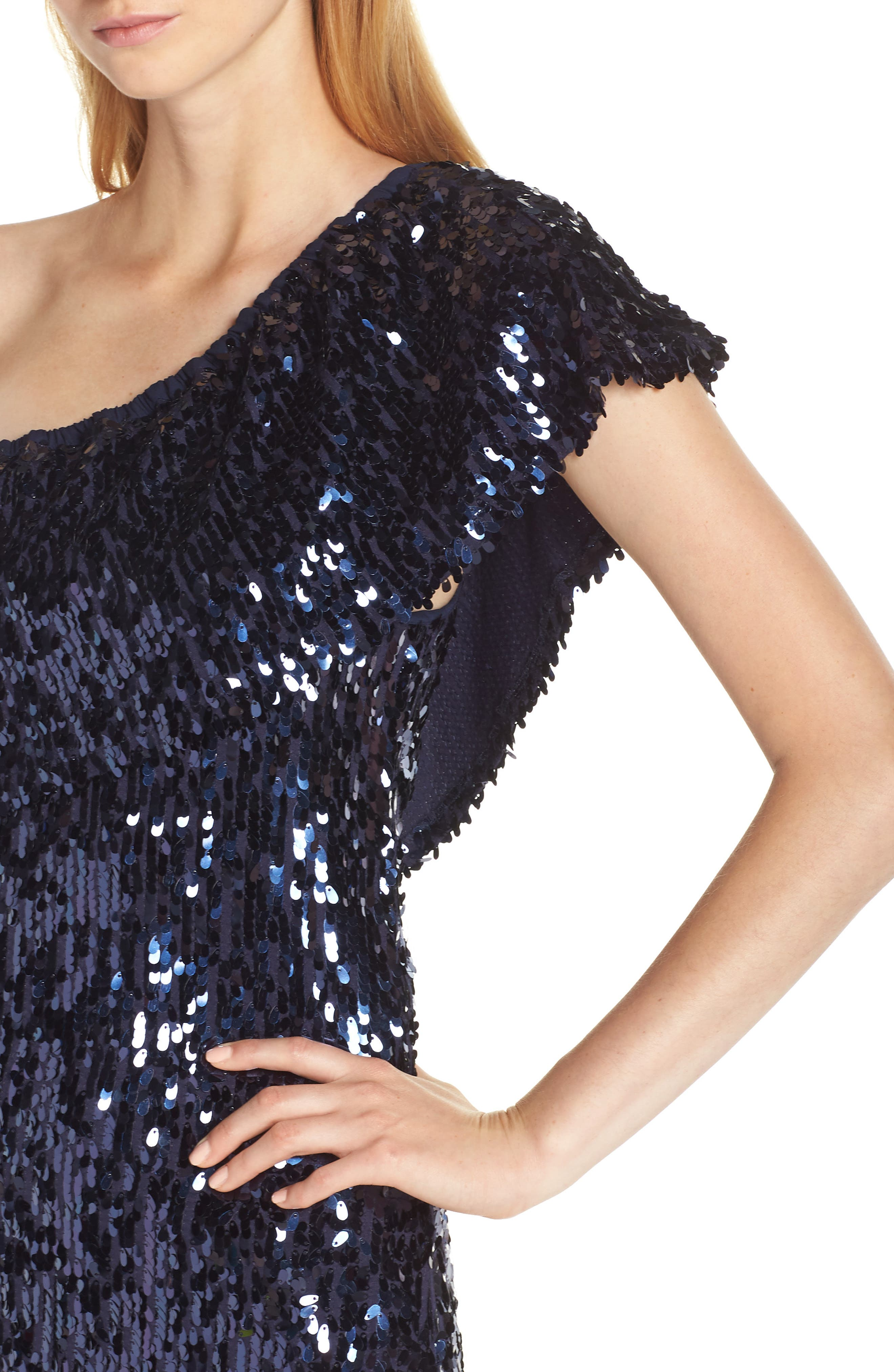 Sequin One-Shoulder Minidress,                             Alternate thumbnail 4, color,                             OIL SLICK