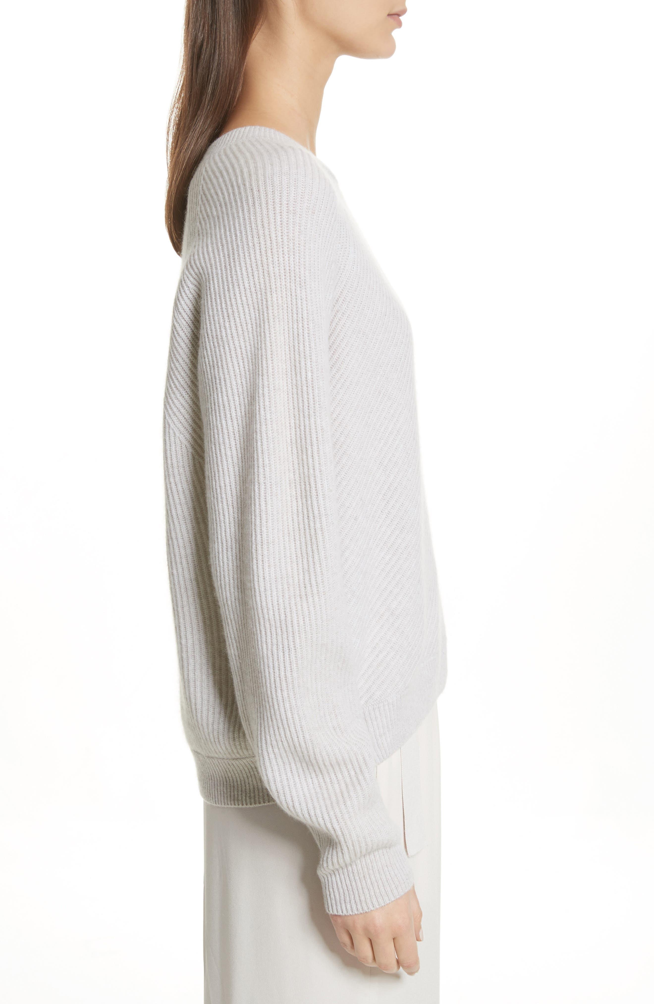 Diagonal Rib Wool & Cashmere Sweater,                             Alternate thumbnail 8, color,