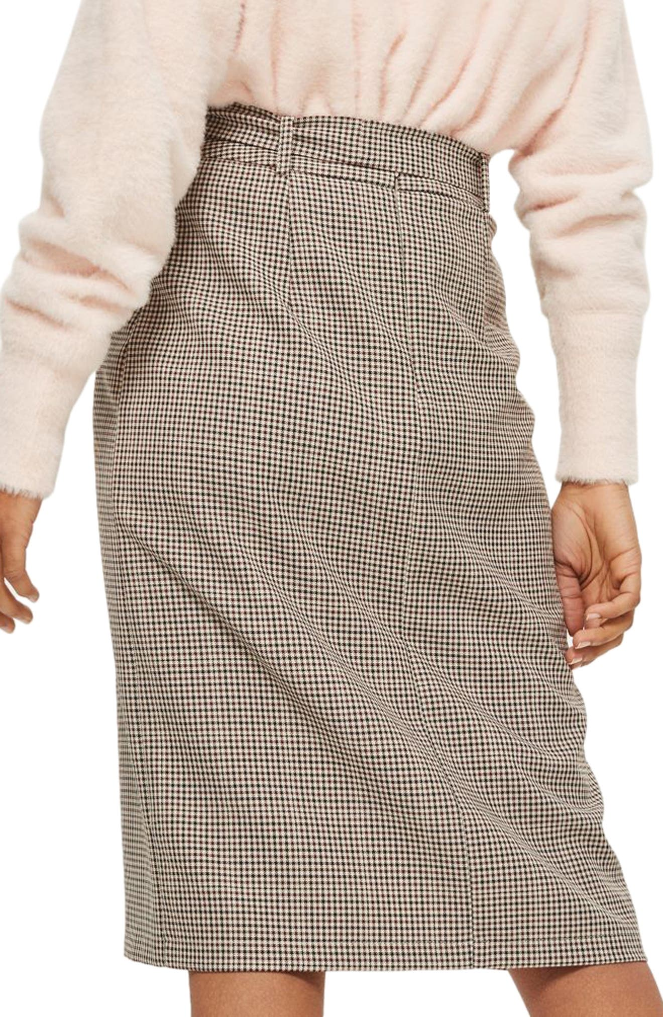Button Through Check Pencil Skirt,                             Alternate thumbnail 2, color,                             230
