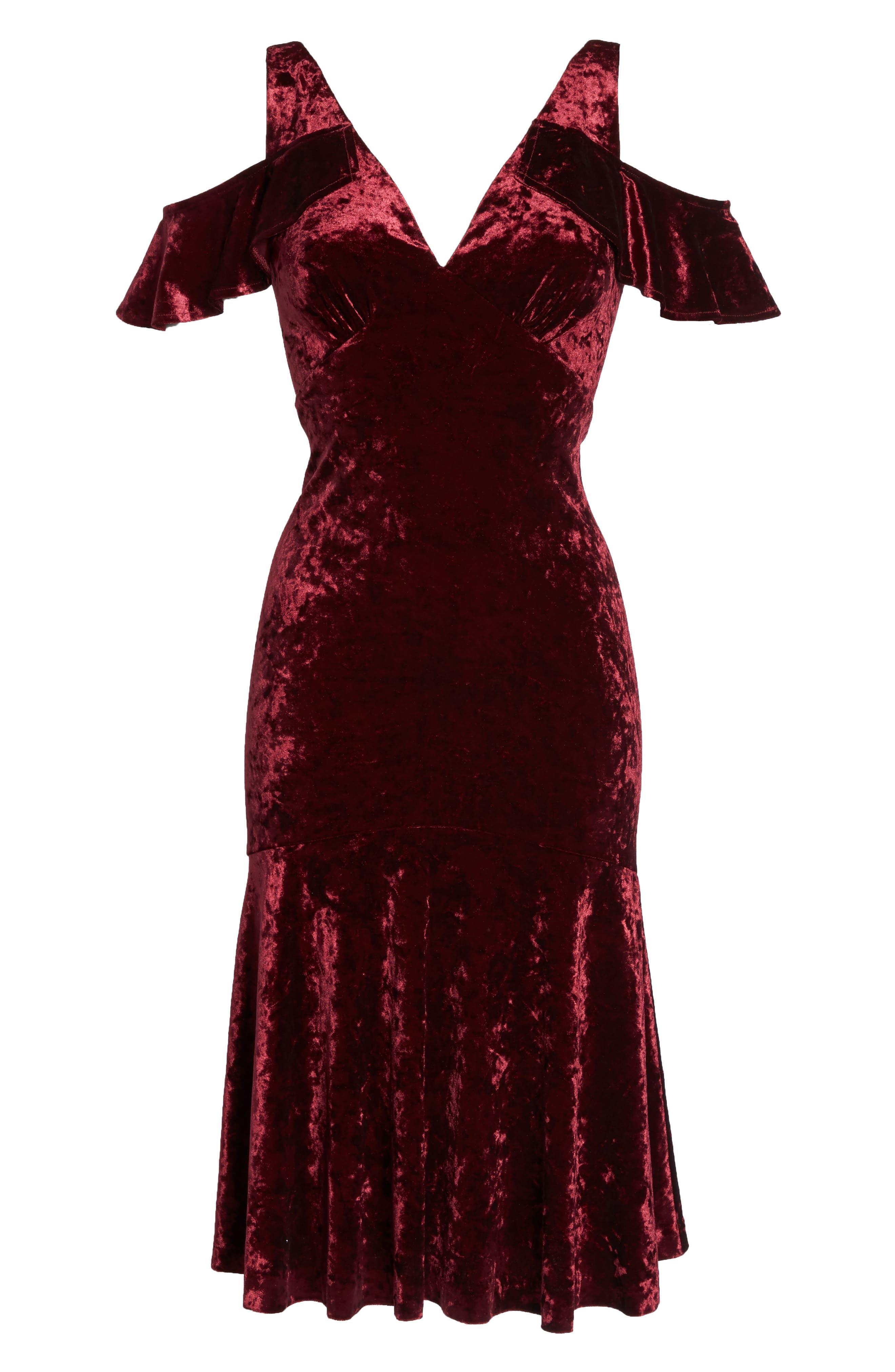 Cold Shoulder Velvet Dress,                             Alternate thumbnail 6, color,