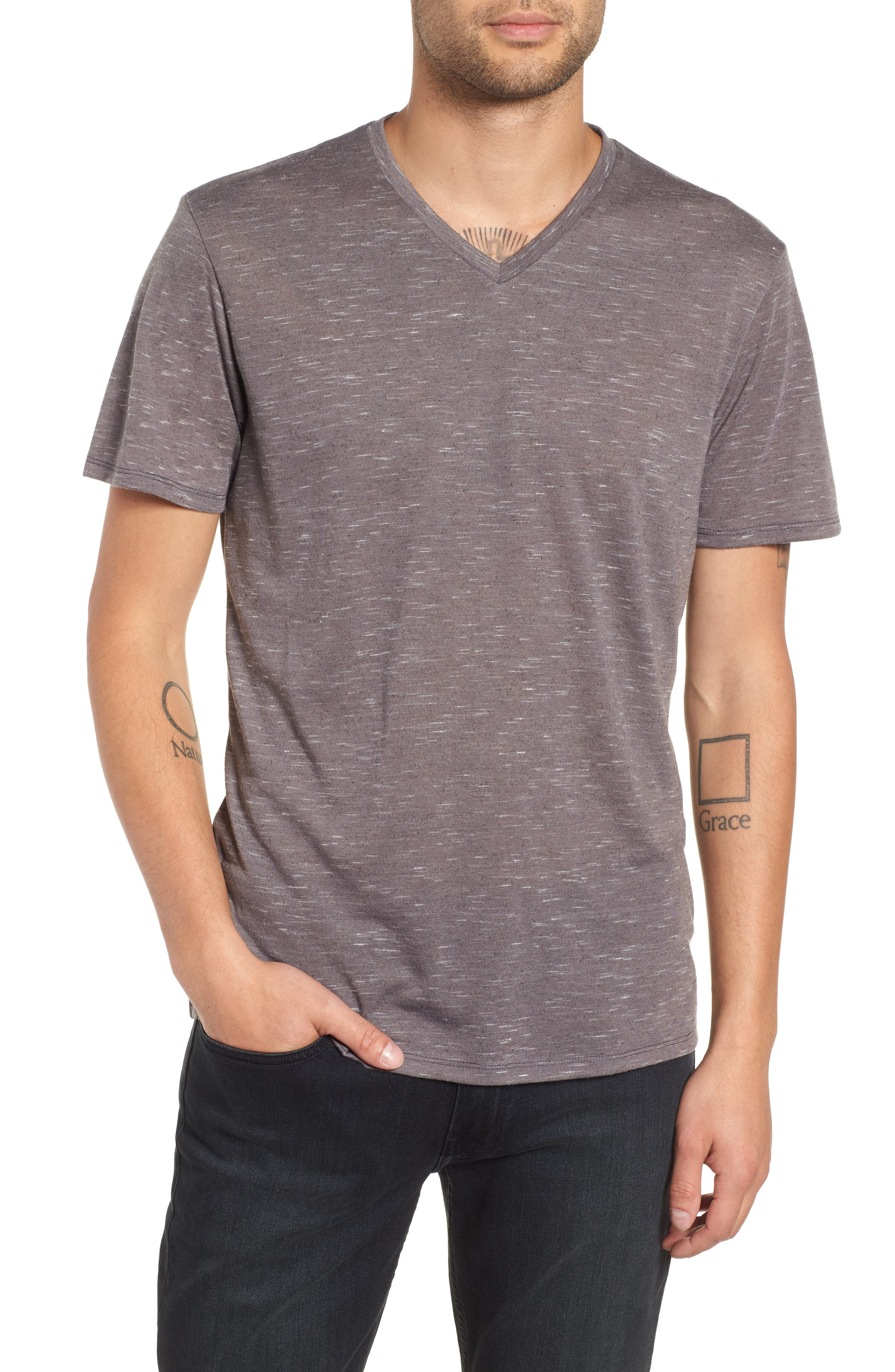 Streaky V-Neck T-Shirt,                         Main,                         color, GREY TORNADO- WHITE