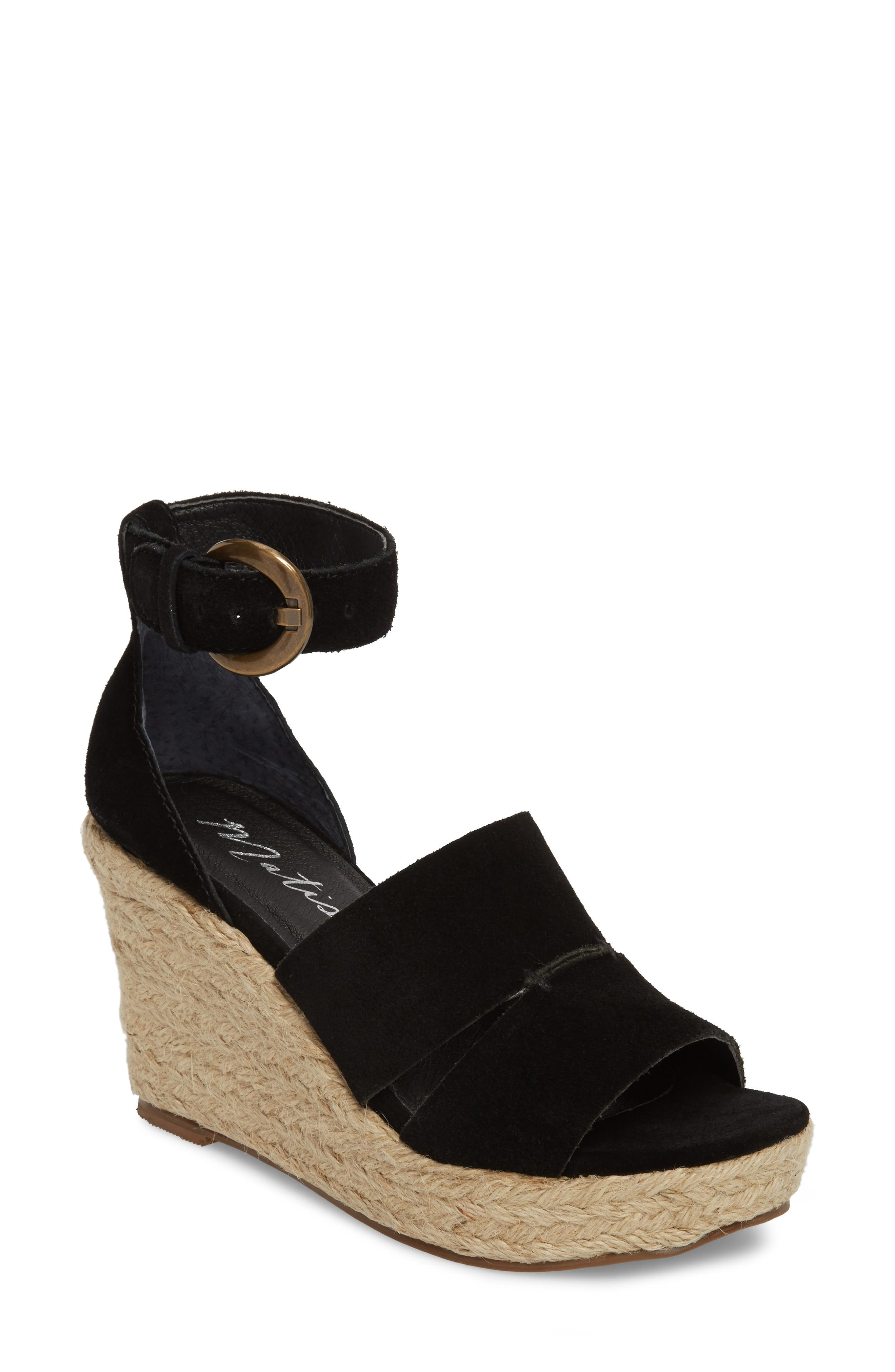 Cha Cha Espadrille Wedge Sandal,                             Main thumbnail 1, color,                             BLACK SUEDE