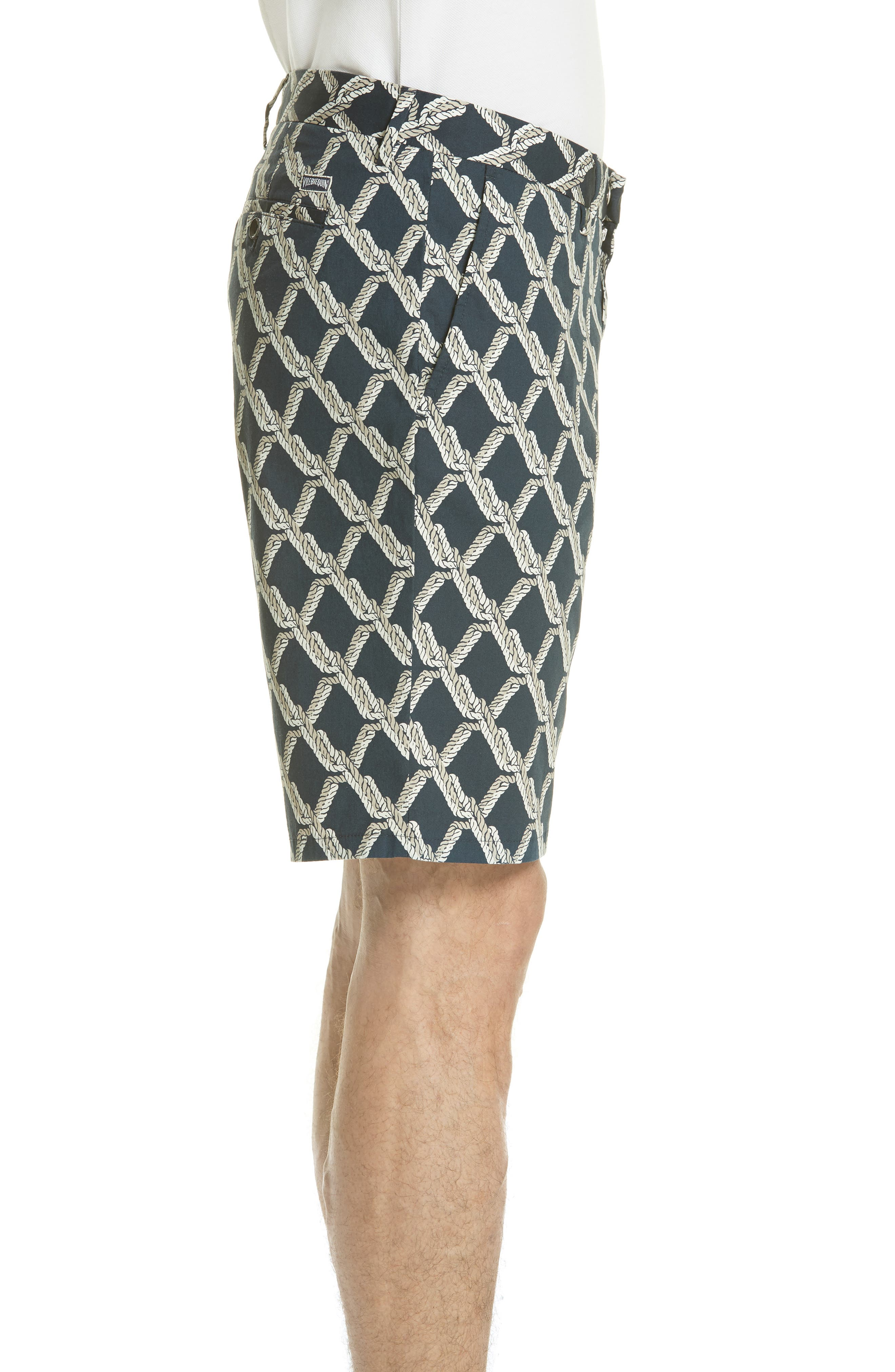 Rope Print Poplin Chino Shorts,                             Alternate thumbnail 3, color,                             SQUID INK / CANVAS