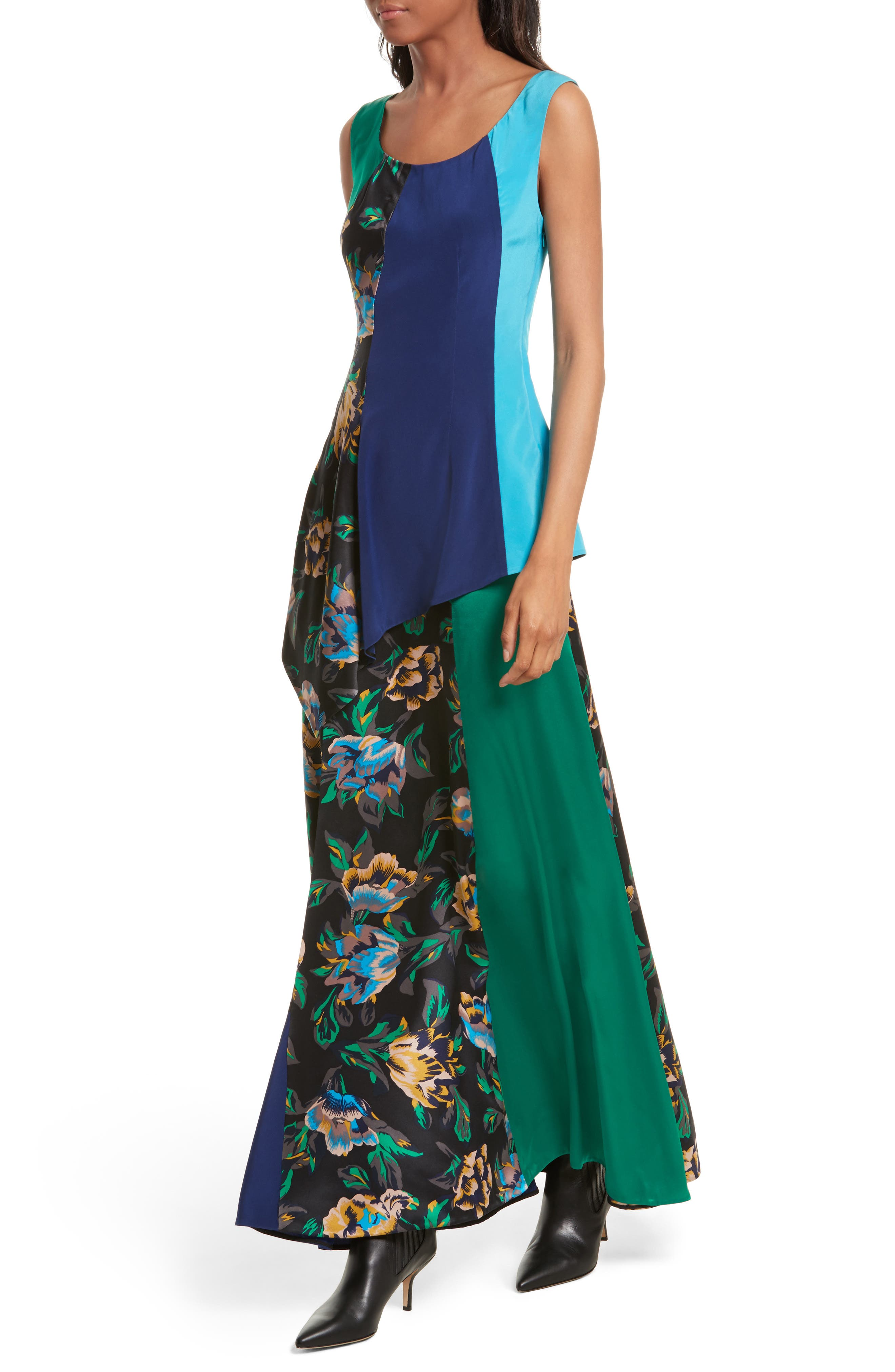 Double Layer Silk Maxi Dress,                             Alternate thumbnail 4, color,                             442
