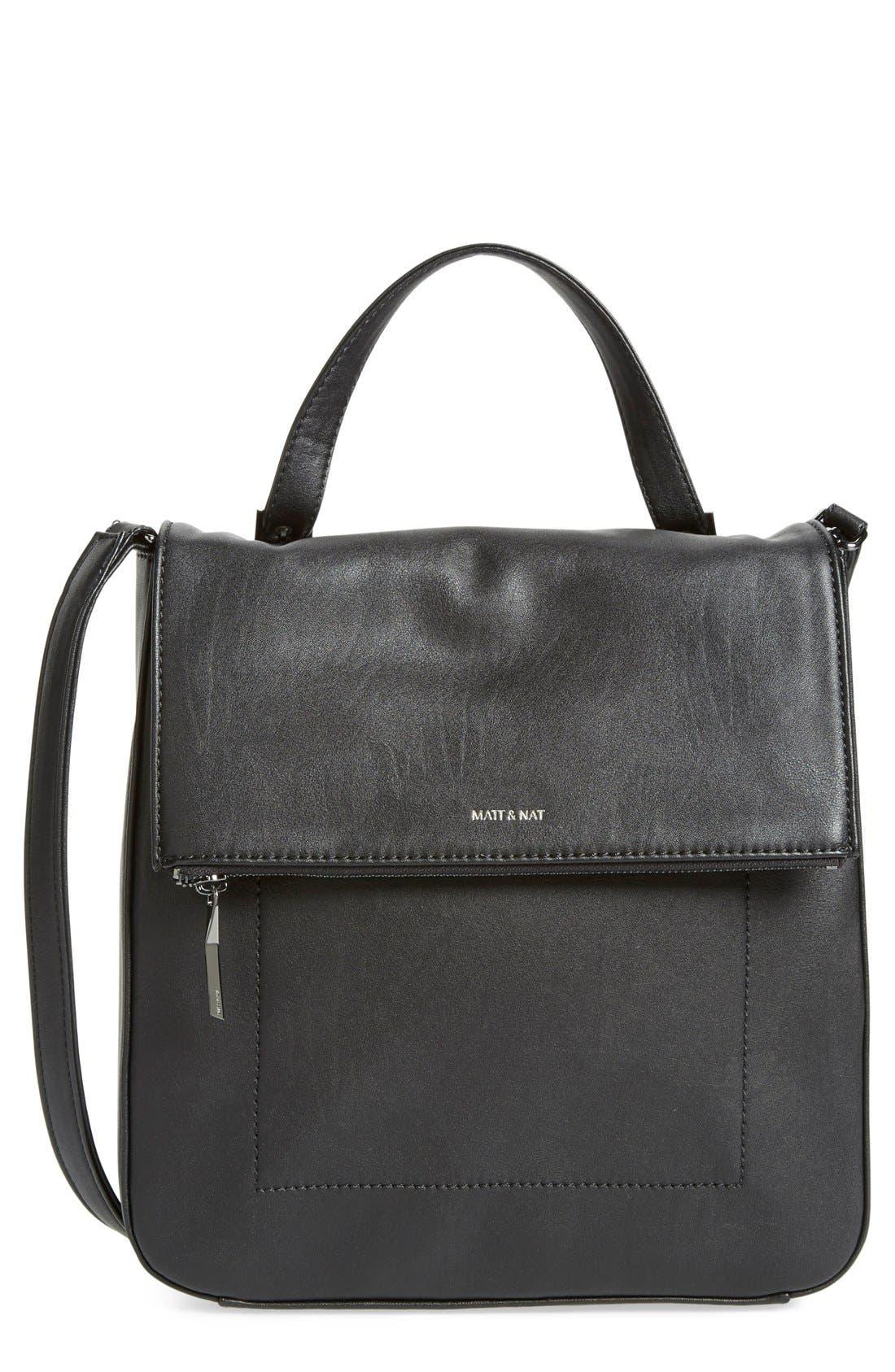 'Dunham' Vegan Leather Top Carry Handbag, Main, color, 001