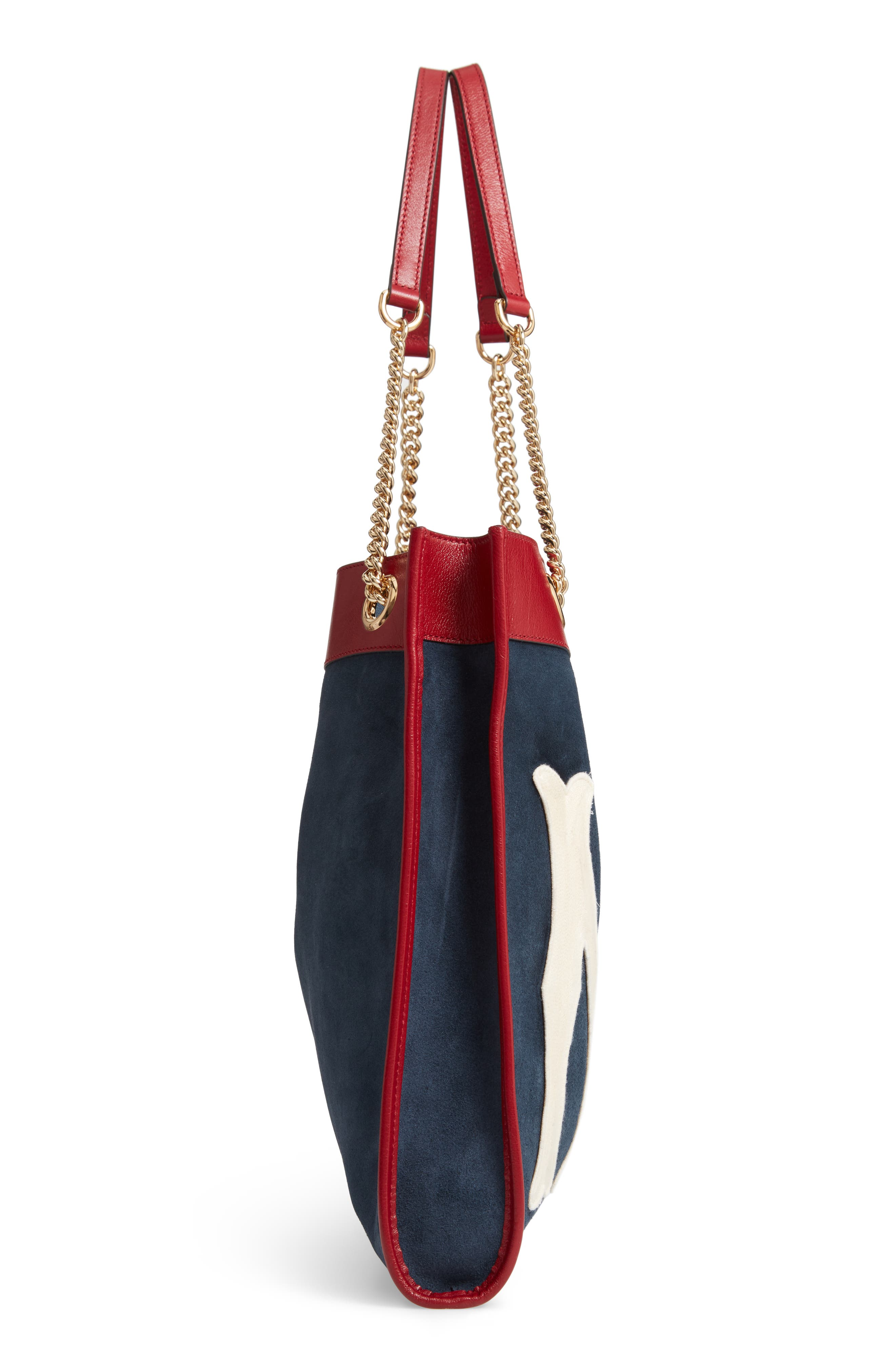 Linea Tiger NY Yankees Suede & Leather Tote,                             Alternate thumbnail 5, color,                             NEW BLUE/ CERISE/ BLUE RED
