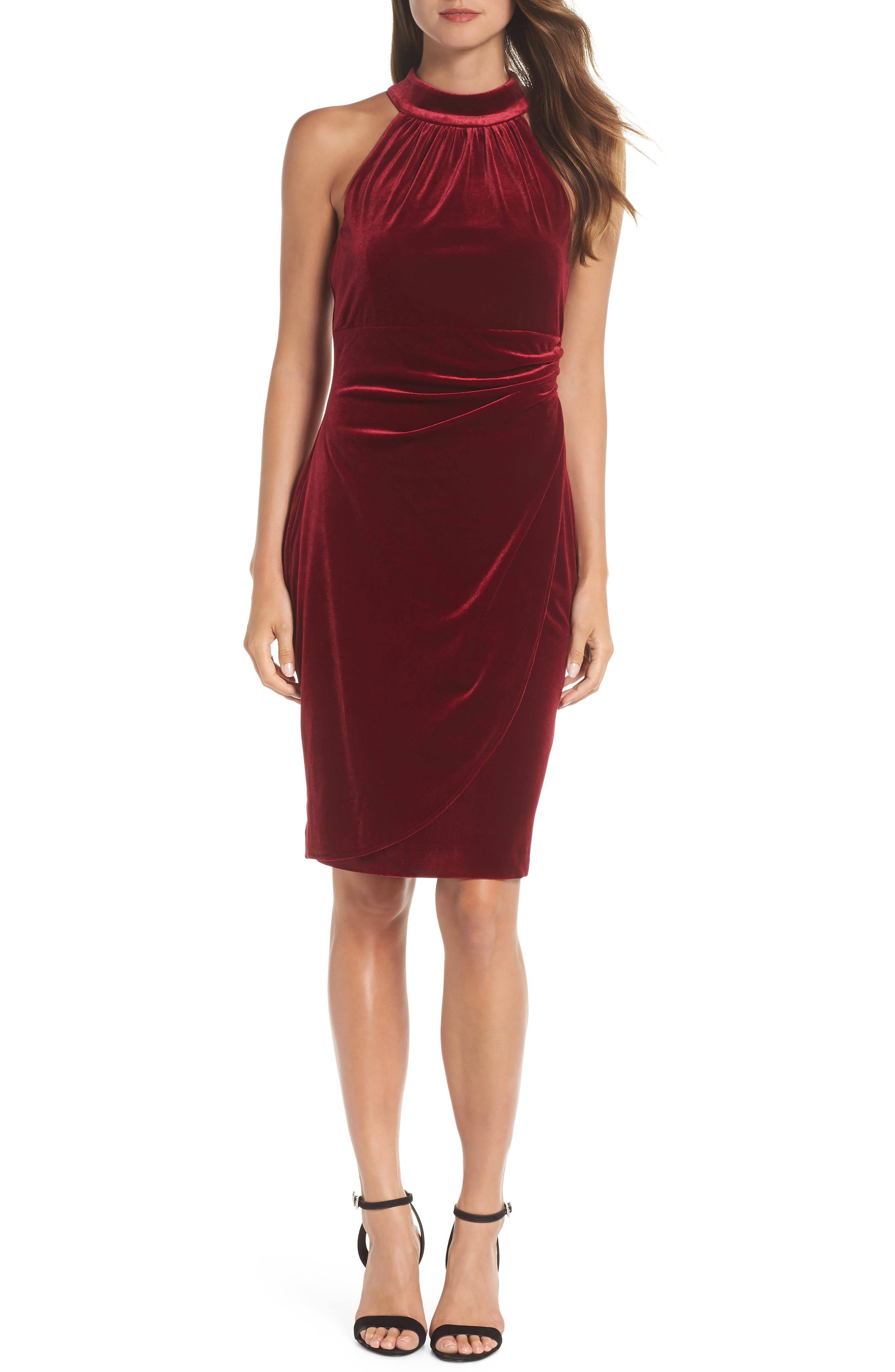 Vince Camuto Draped Velvet Cocktail Dress, Burgundy