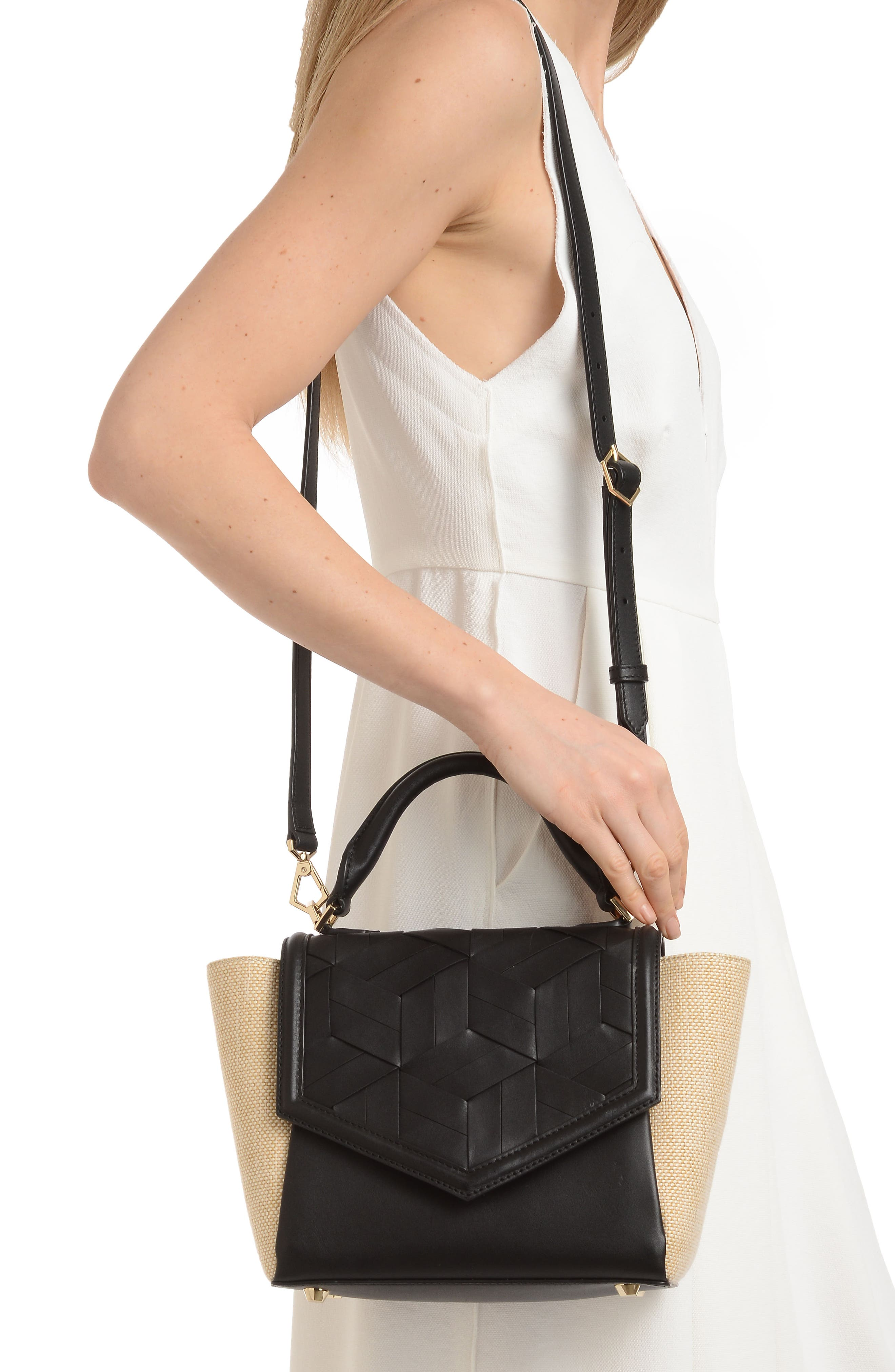 Small Saunter Leather Top Handle Satchel,                             Alternate thumbnail 2, color,                             001