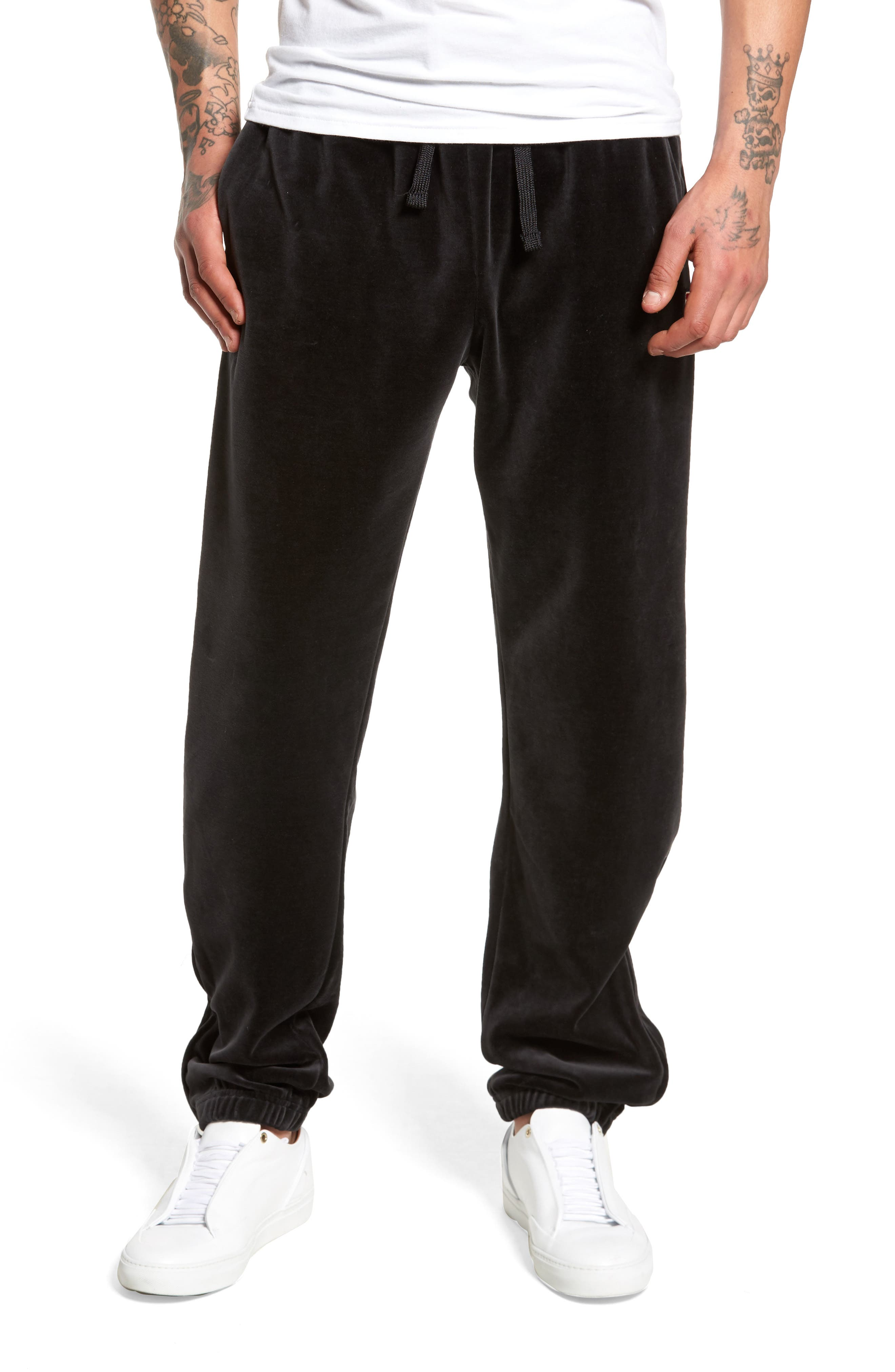 USA Slim Fit Velour Track Pants,                             Main thumbnail 1, color,                             001