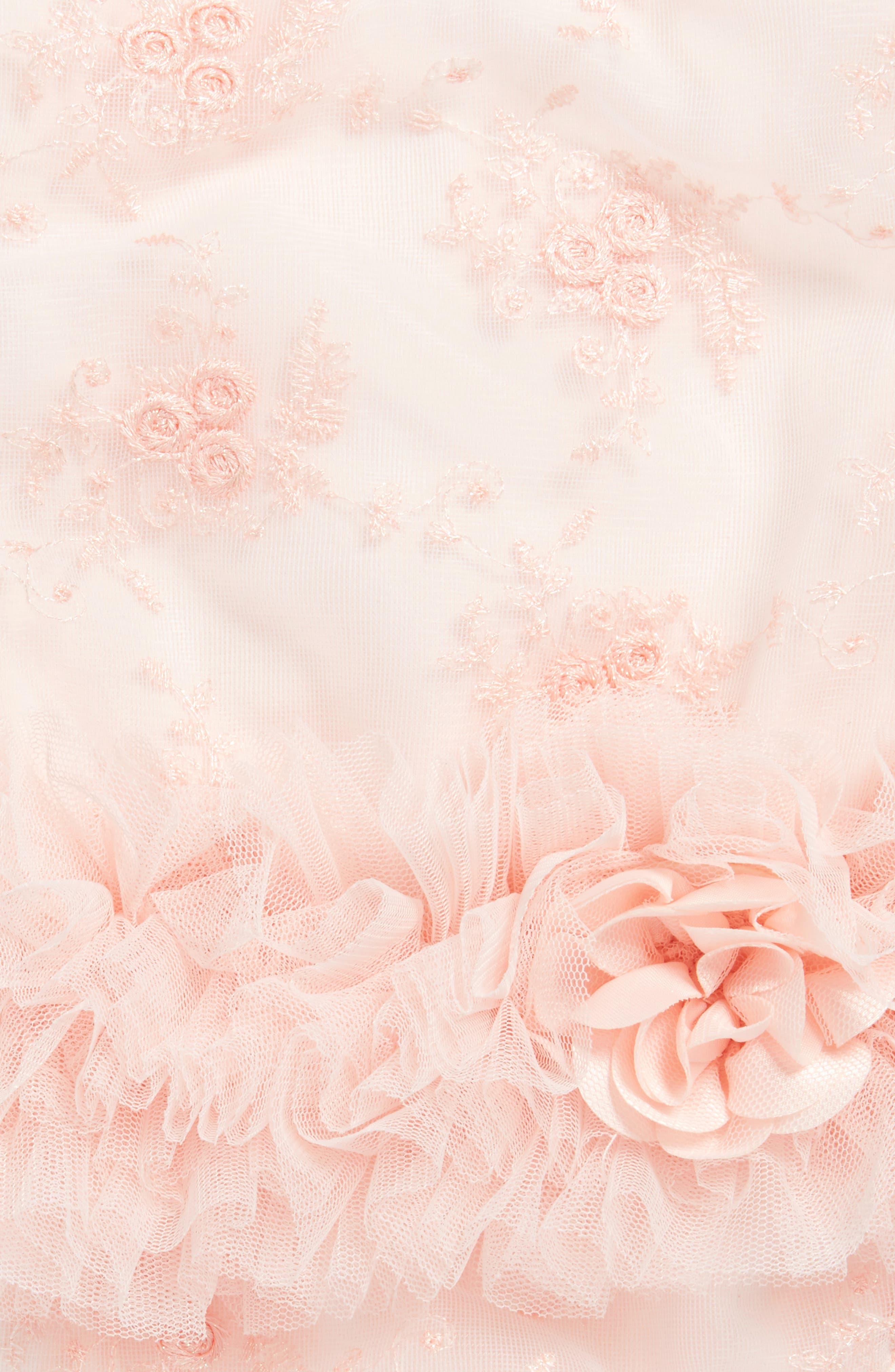 Peach Flower Tutu Bodysuit,                             Alternate thumbnail 3, color,                             950