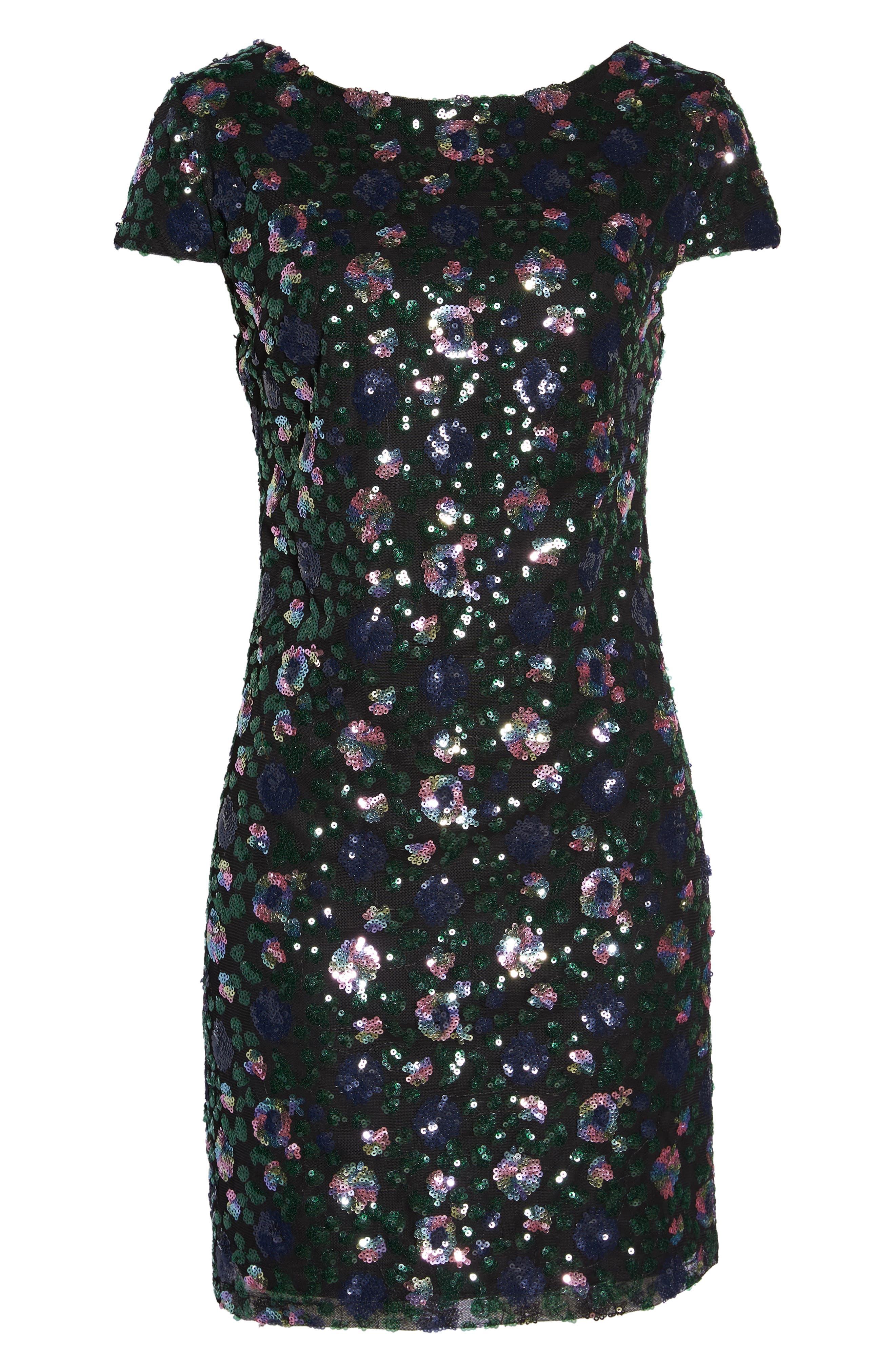 Floral Sequin Sheath Dress,                             Alternate thumbnail 6, color,                             PURPLE/ GREEN
