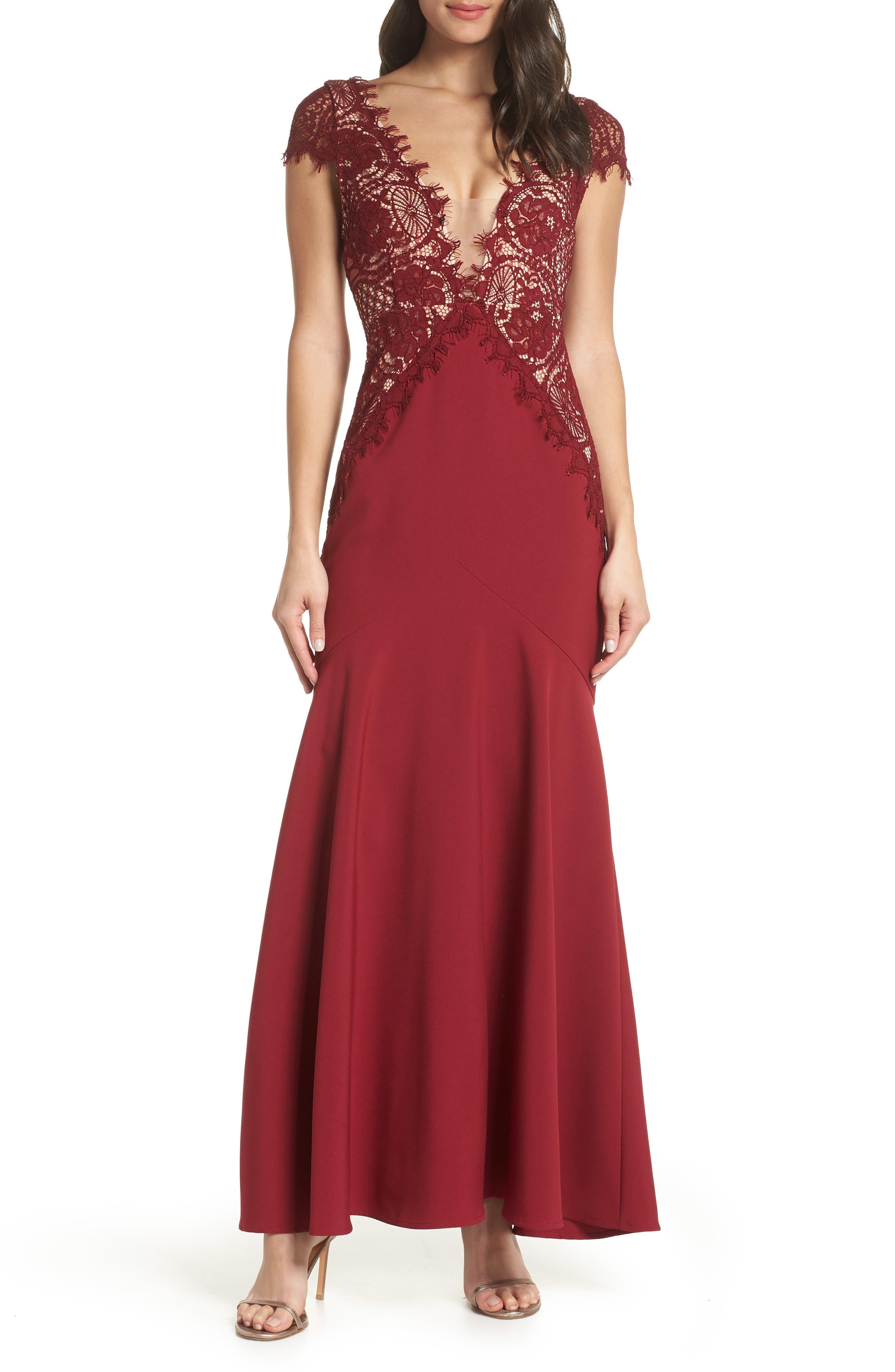 Amare Trumpet Evening Dress, Main, color, BURGUNDY/ NUDE