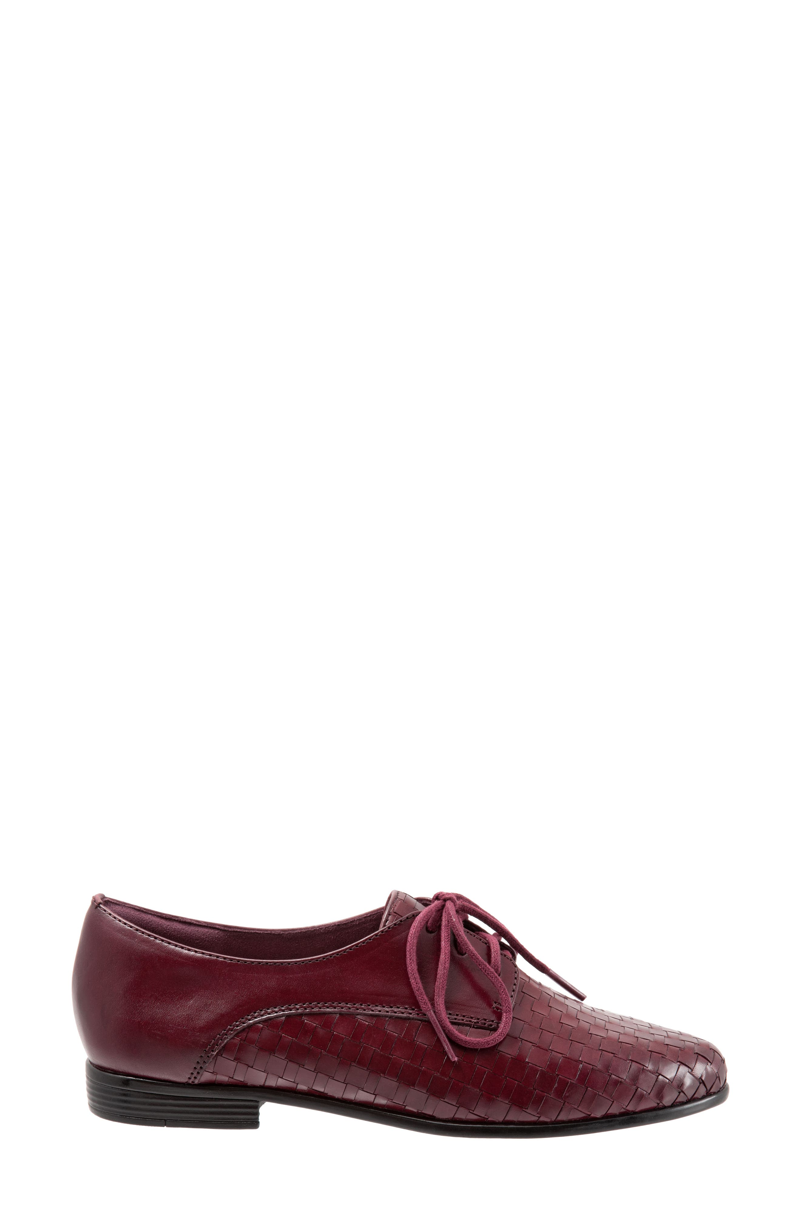 Lizzie Derby Flat,                             Alternate thumbnail 3, color,                             BLACK CHERRY LEATHER