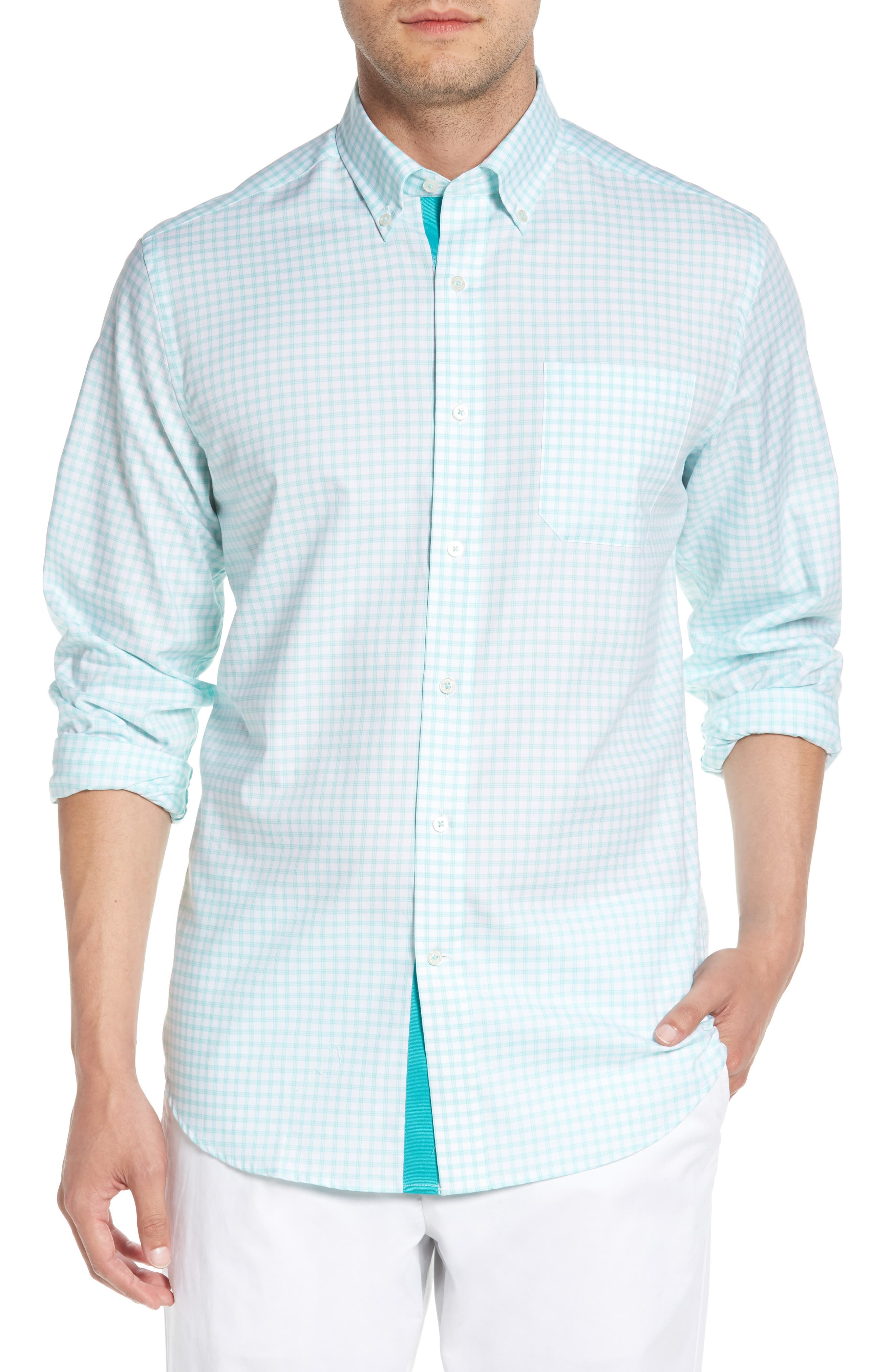 Like Oak Regular Fit Check Sport Shirt,                         Main,                         color, MINT