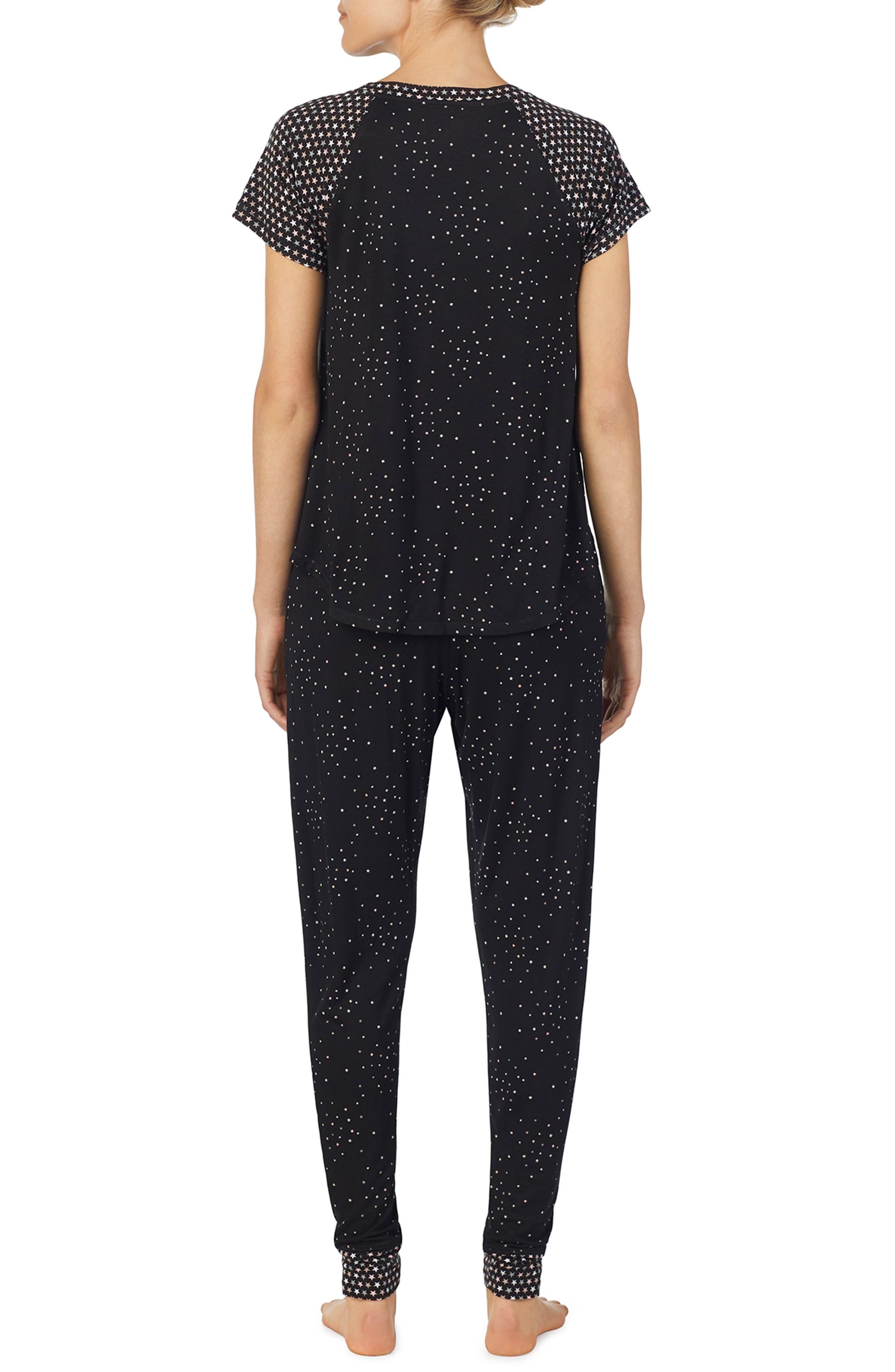 Jersey Pajamas,                             Alternate thumbnail 2, color,                             BLACK PRT