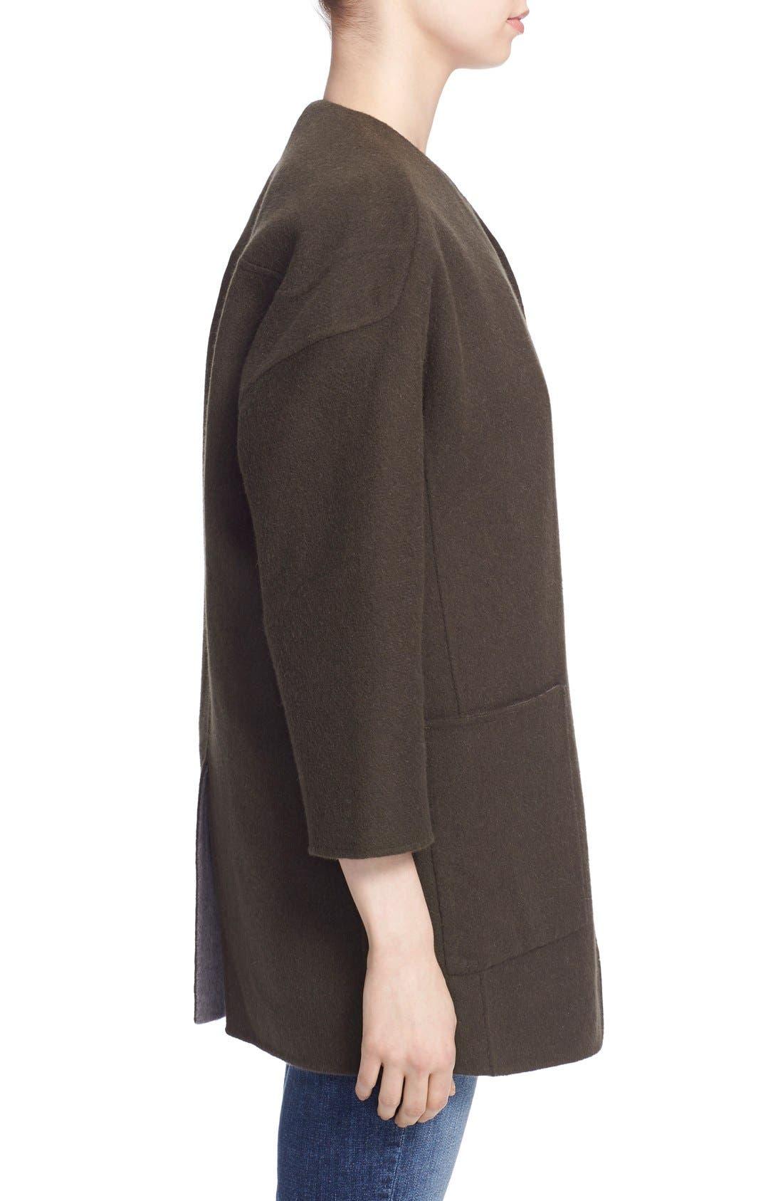 Reversible Wool & Angora Car Coat,                             Alternate thumbnail 5, color,                             020
