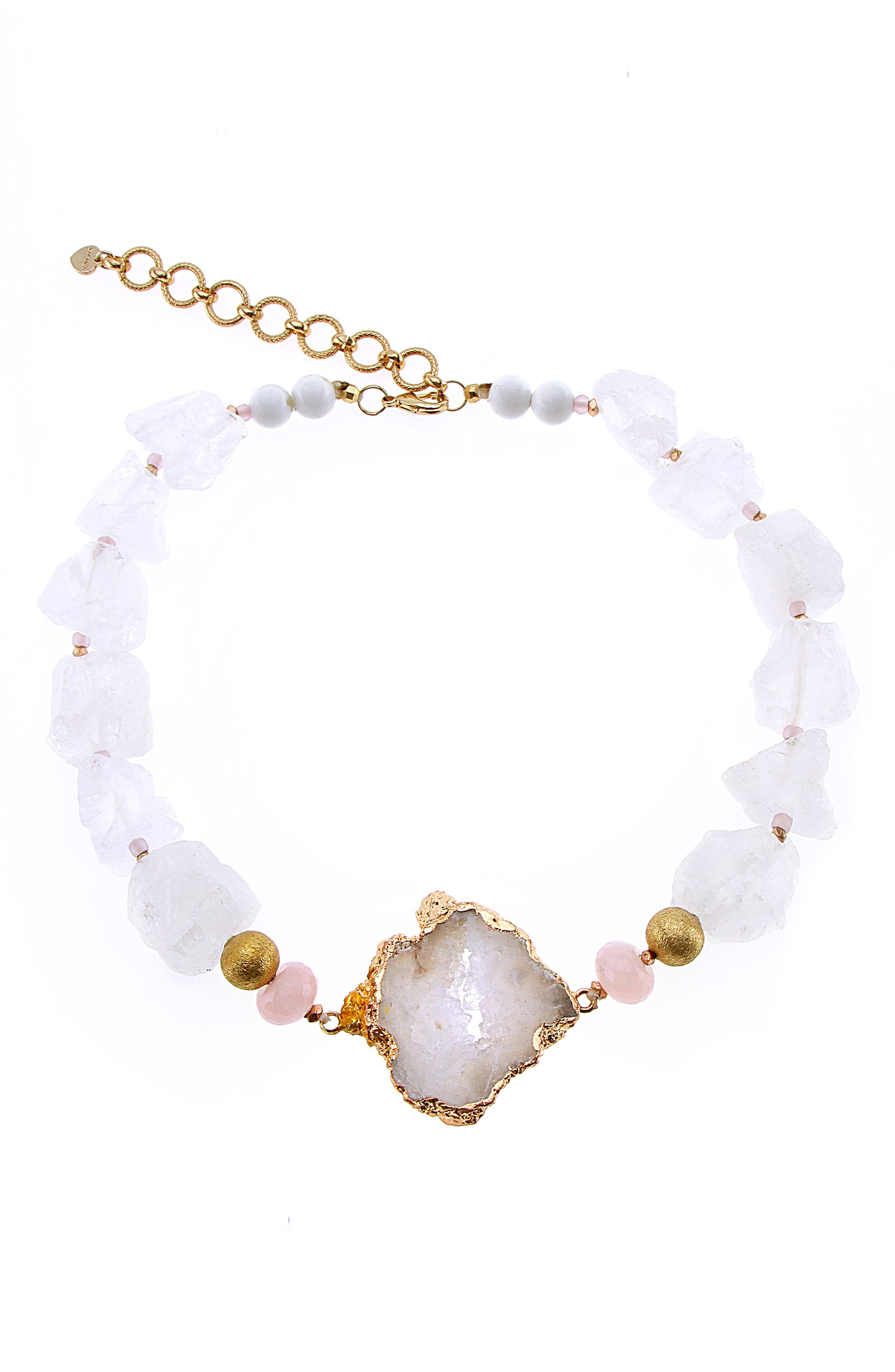 Hollyhocks Raw Quartz Necklace,                             Main thumbnail 1, color,                             100