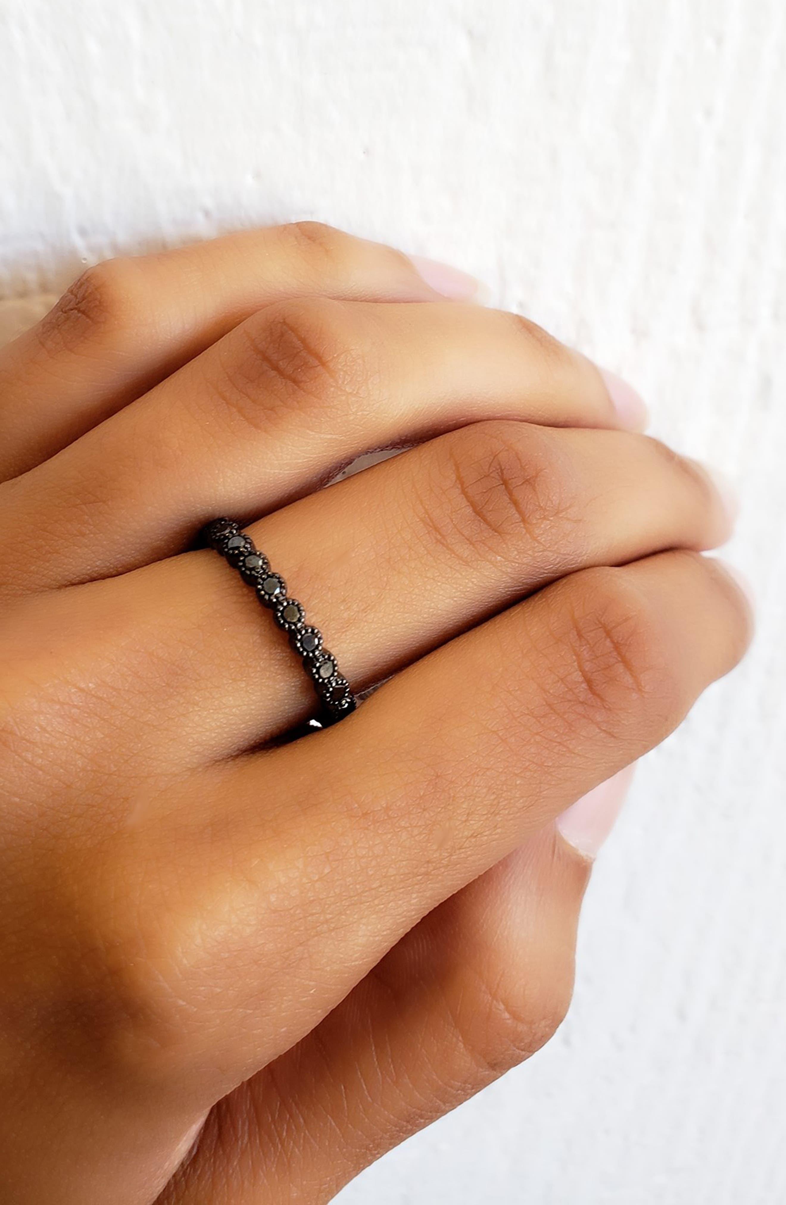 Black Diamond Bezel Band Ring,                             Alternate thumbnail 2, color,                             BLACK RHODIUM/ BLACK DIAMOND