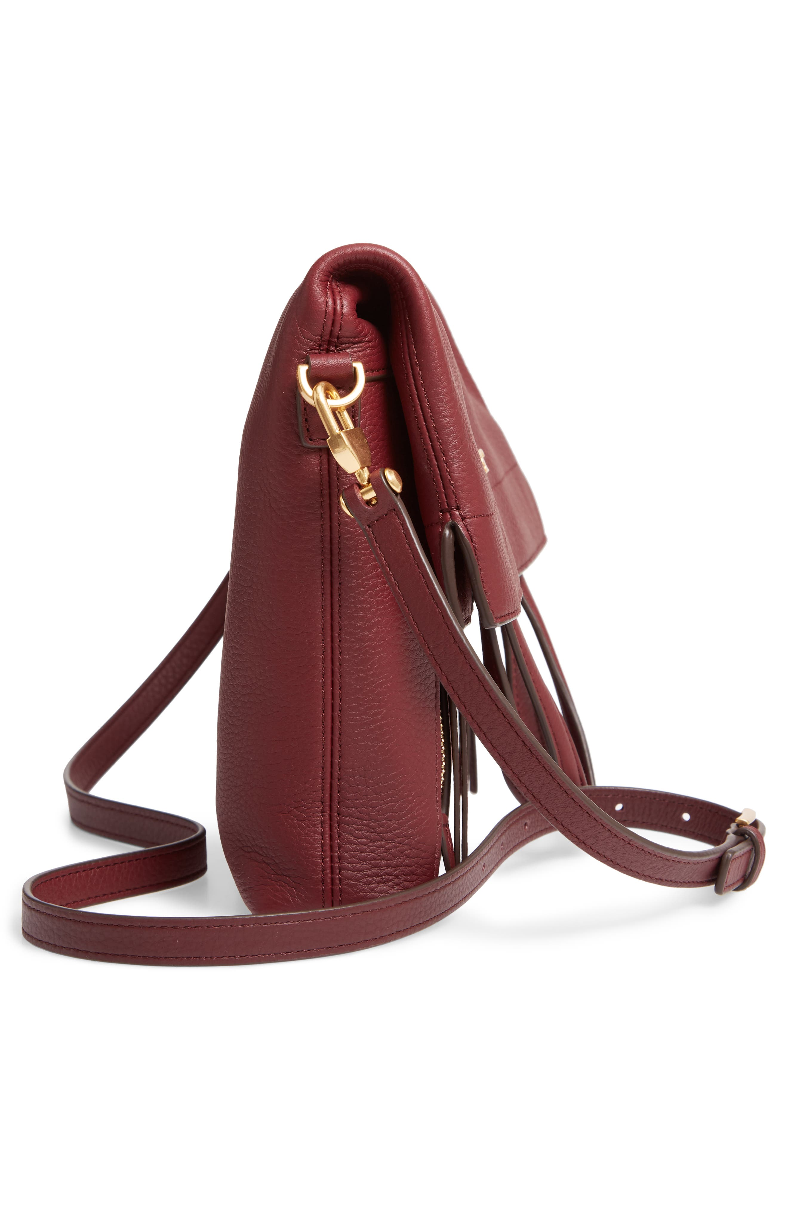 Half Moon Convertible Crossbody Bag,                             Alternate thumbnail 6, color,                             CLARET