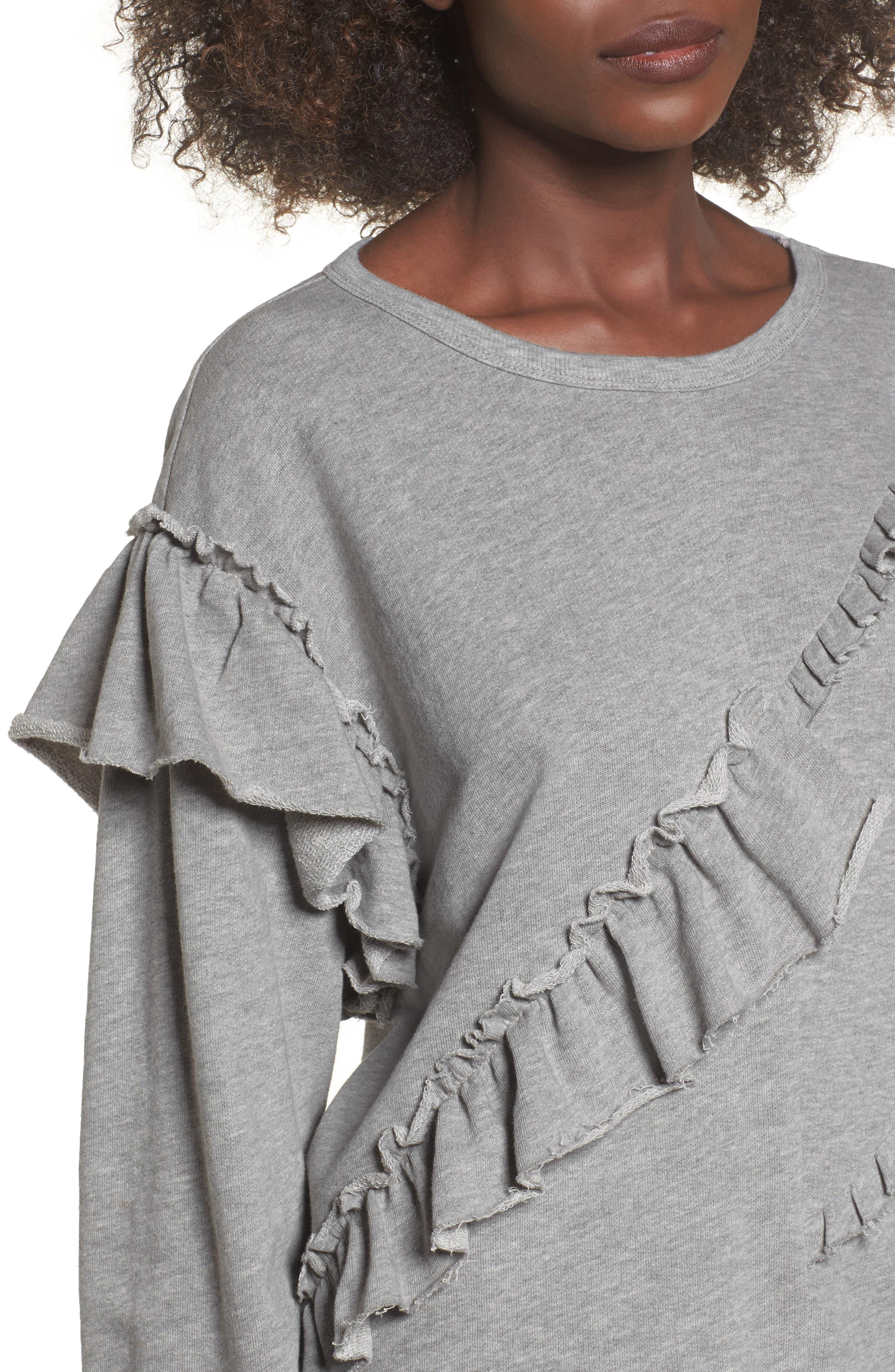 Asymmetric Ruffle Sweatshirt,                             Alternate thumbnail 4, color,