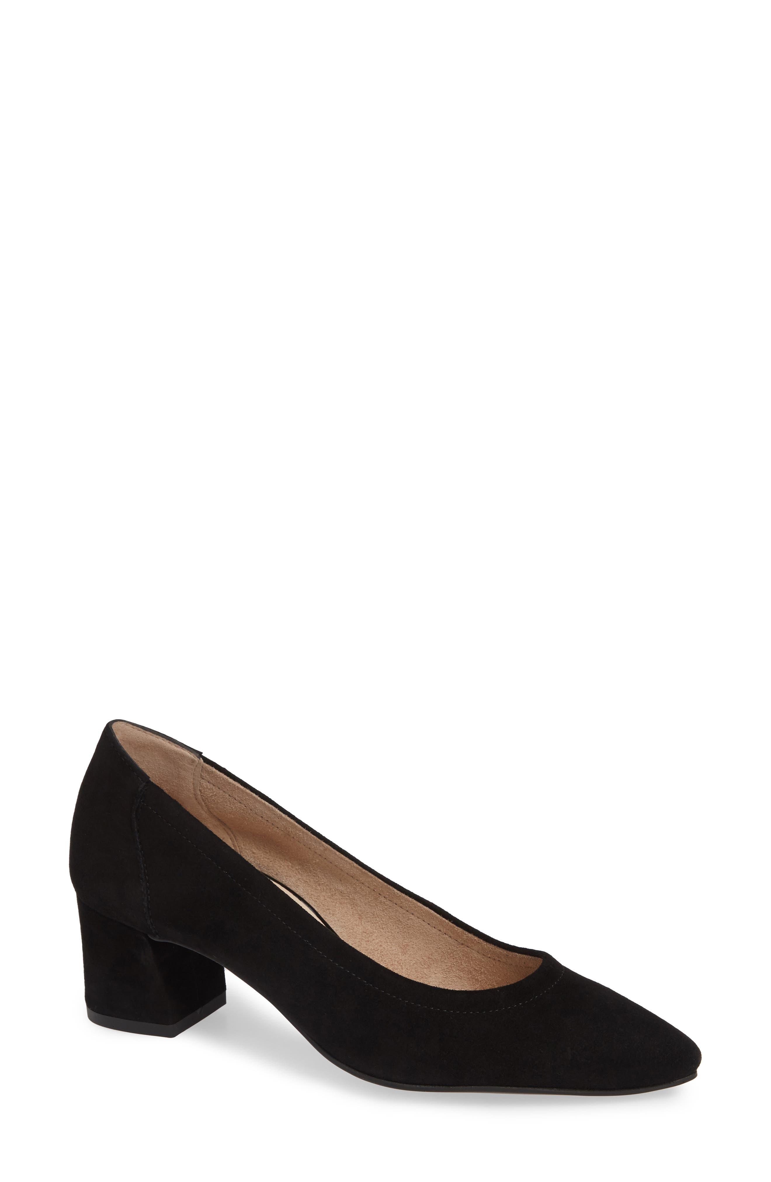 Women'S Tammy Block-Heel Pumps in Black Suede