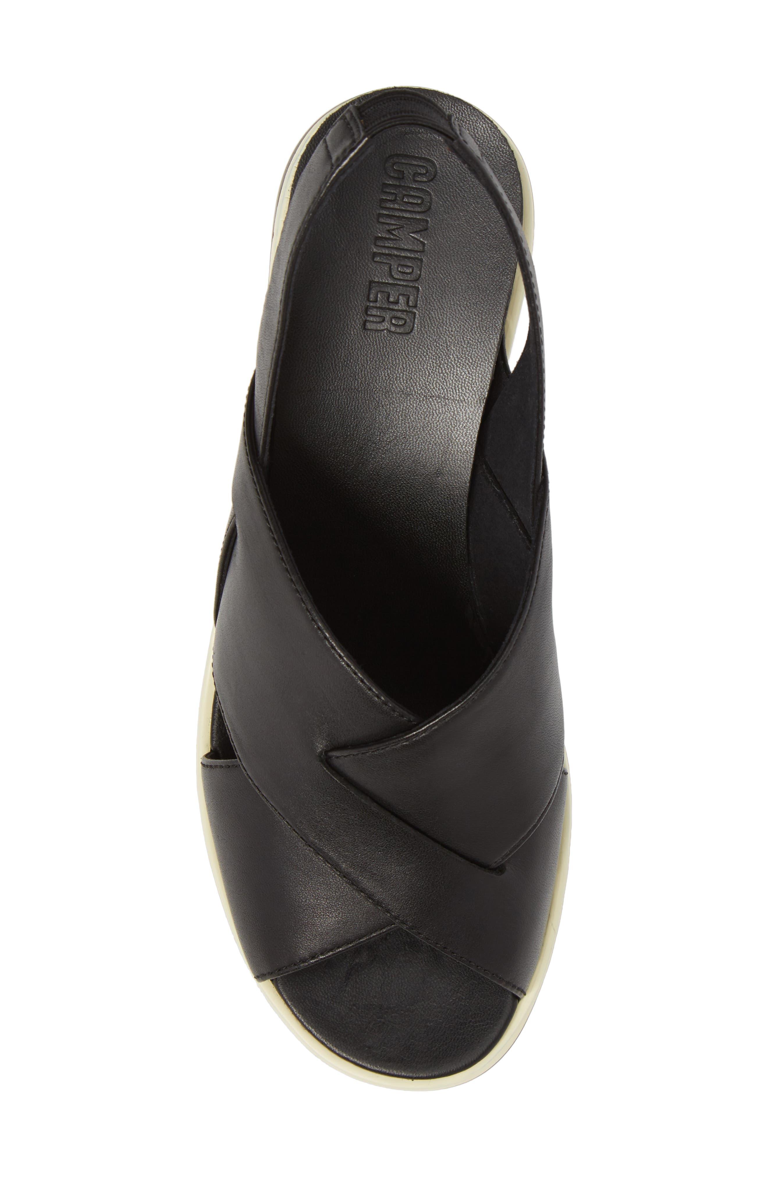 Tropik Cross Strap Wedge Sandal,                             Alternate thumbnail 5, color,                             BLACK LEATHER