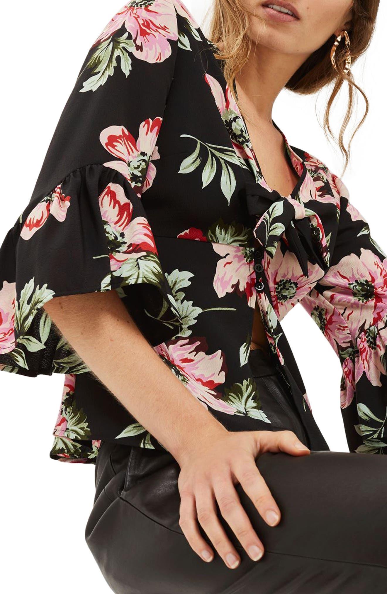 Felicity Tie Front Blouse,                             Alternate thumbnail 5, color,