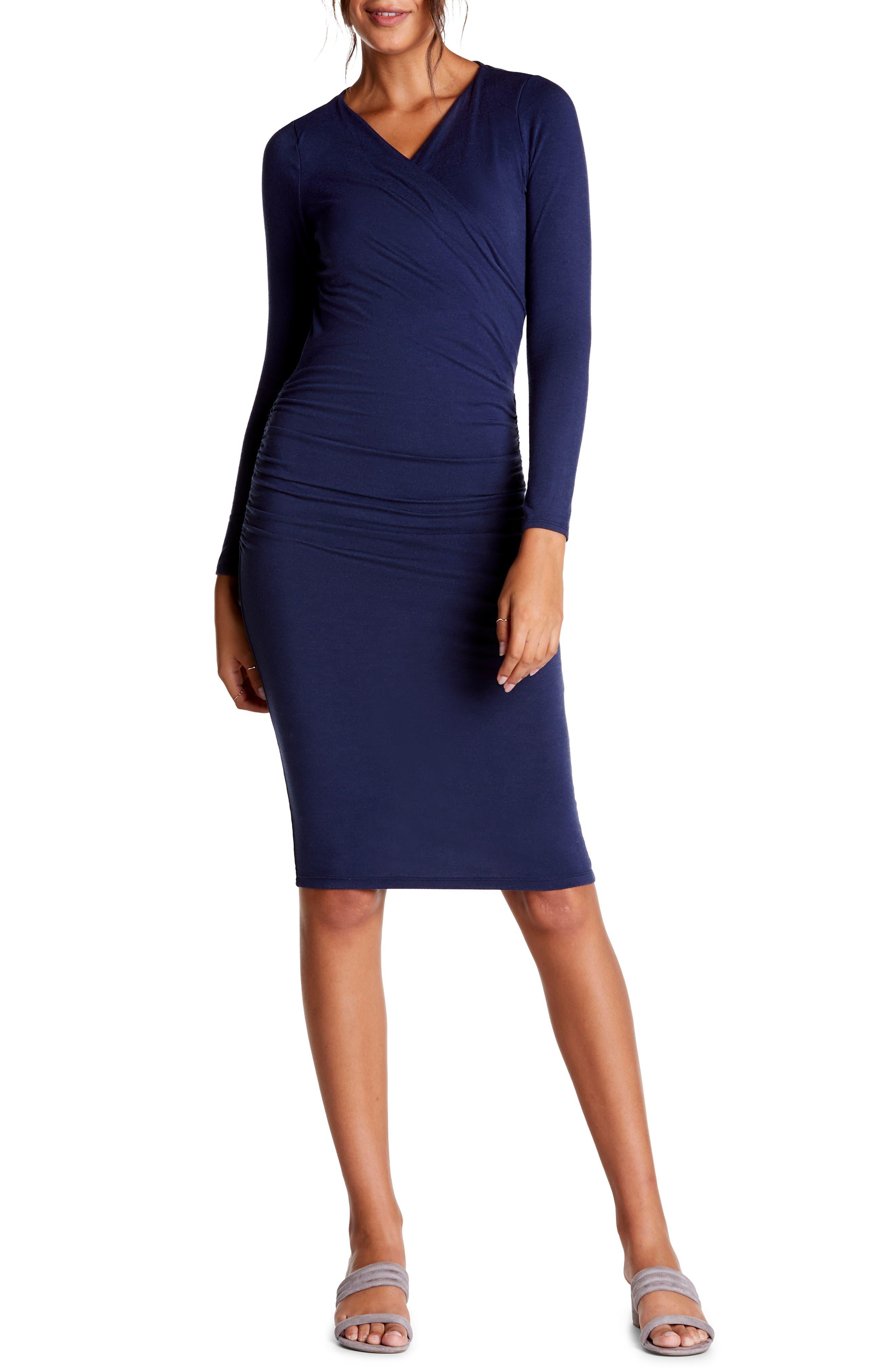 Michael Stars Mikaela Crossover Knit Dress, Blue/green