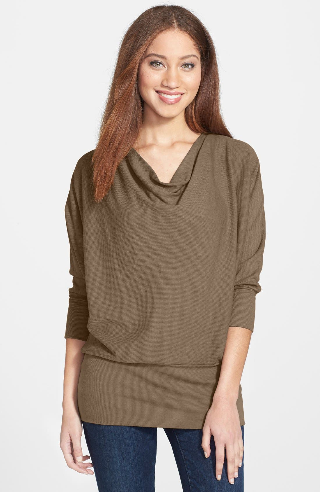'Aidan' Drape Neck Thermal Top,                             Main thumbnail 3, color,