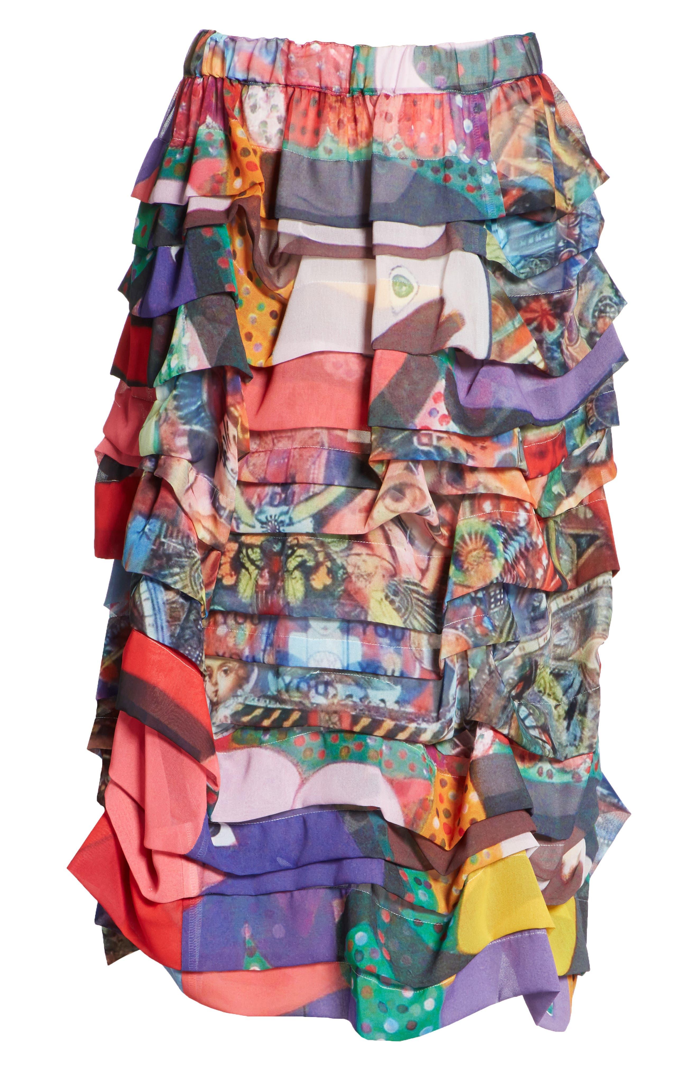Print Tiered Skirt,                             Alternate thumbnail 6, color,
