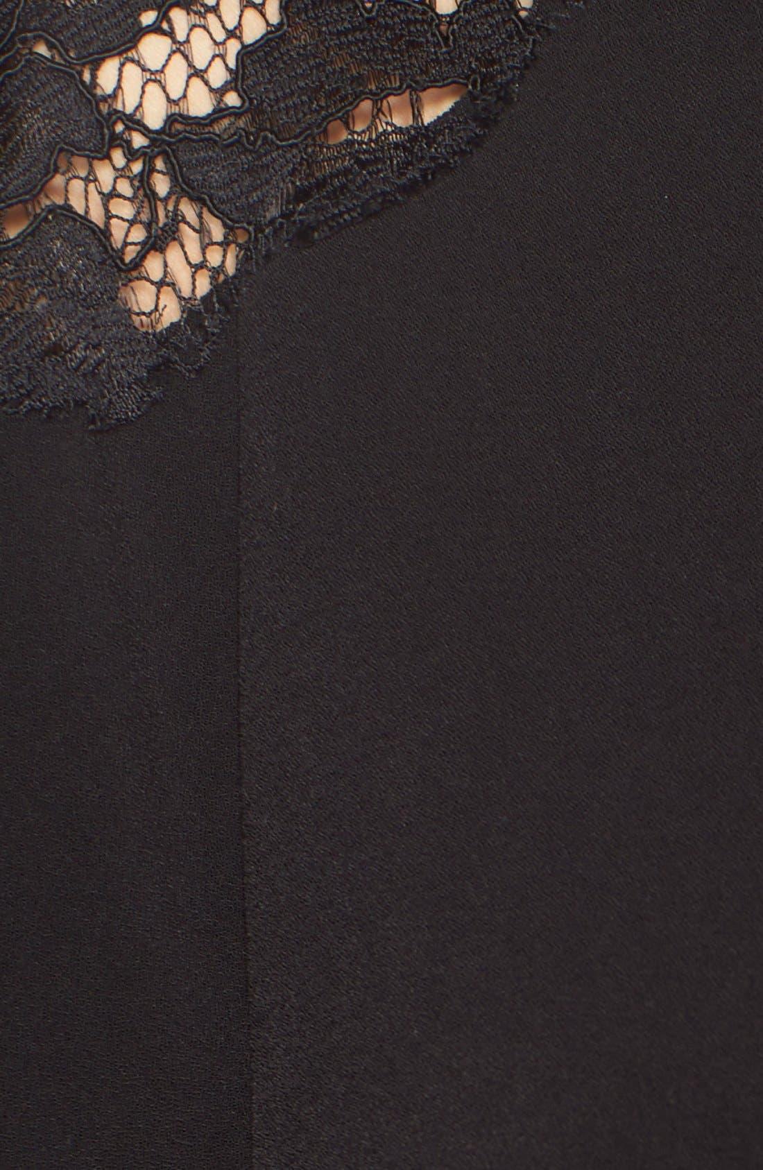 Lace Shoulder Crepe A-Line Dress,                             Alternate thumbnail 4, color,                             005