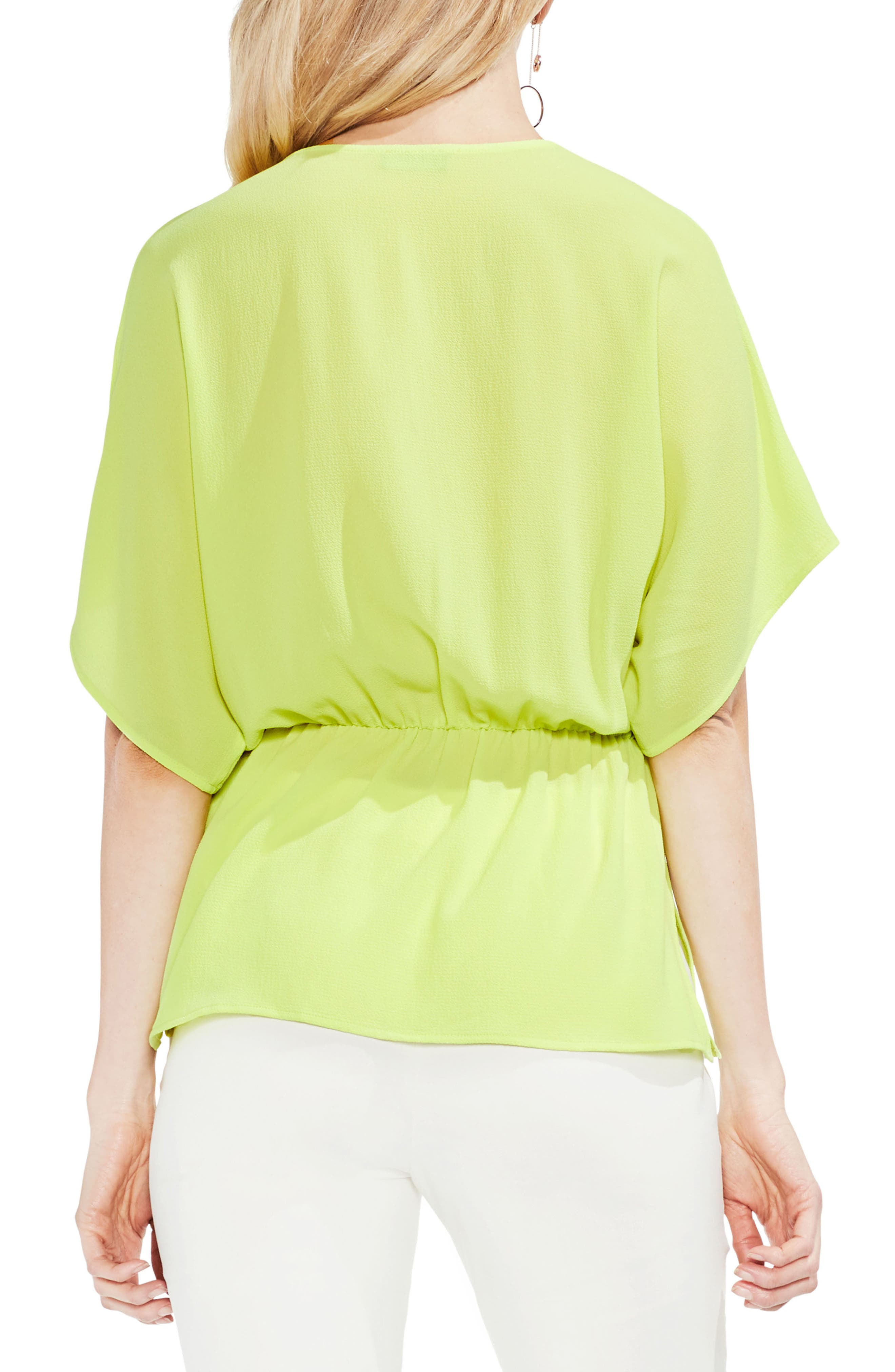 Cinch Front Stretch Crepe Blouse,                             Alternate thumbnail 2, color,                             300
