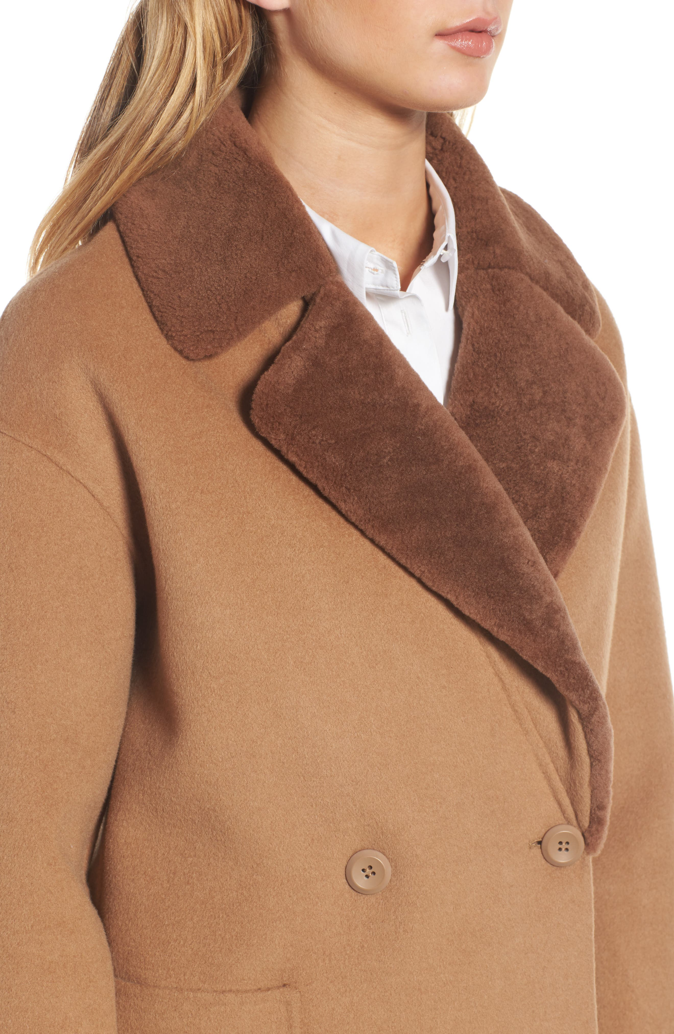 Dawn Genuine Shearling Collar Double Face Coat,                             Alternate thumbnail 8, color,
