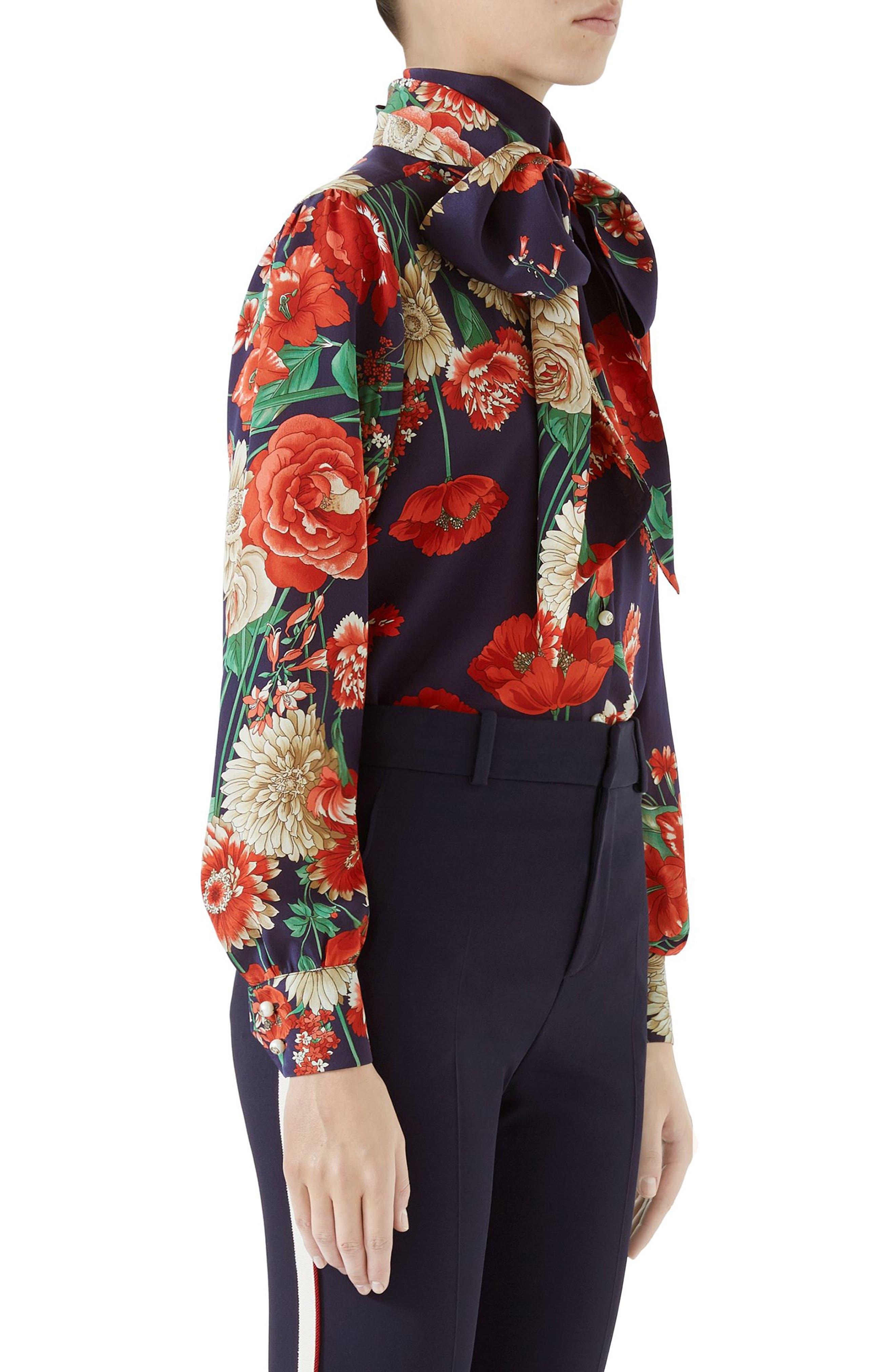 Spring Bouquet Print Tie Neck Silk Blouse,                             Alternate thumbnail 3, color,                             BLUE/ RED PRINT