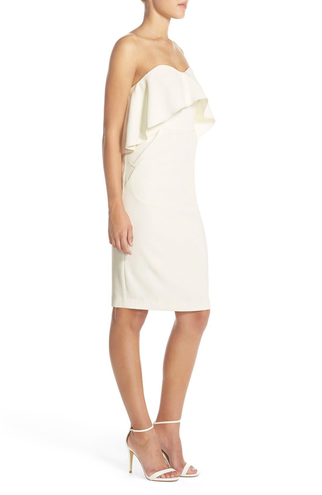Ruffle Stretch Crepe Sheath Dress,                             Alternate thumbnail 36, color,