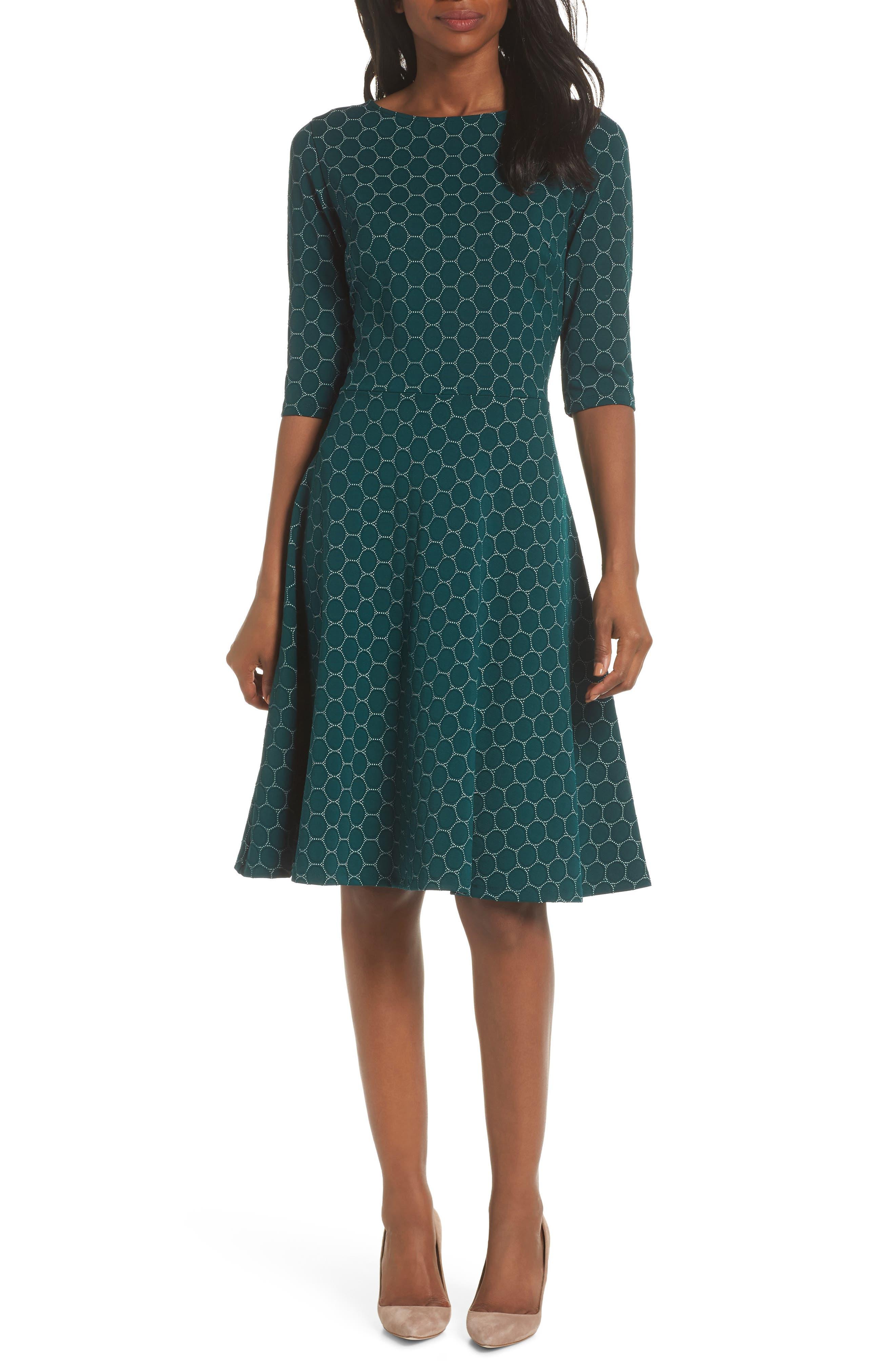 Leota Circle Knit Fit & Flare Dress, Green