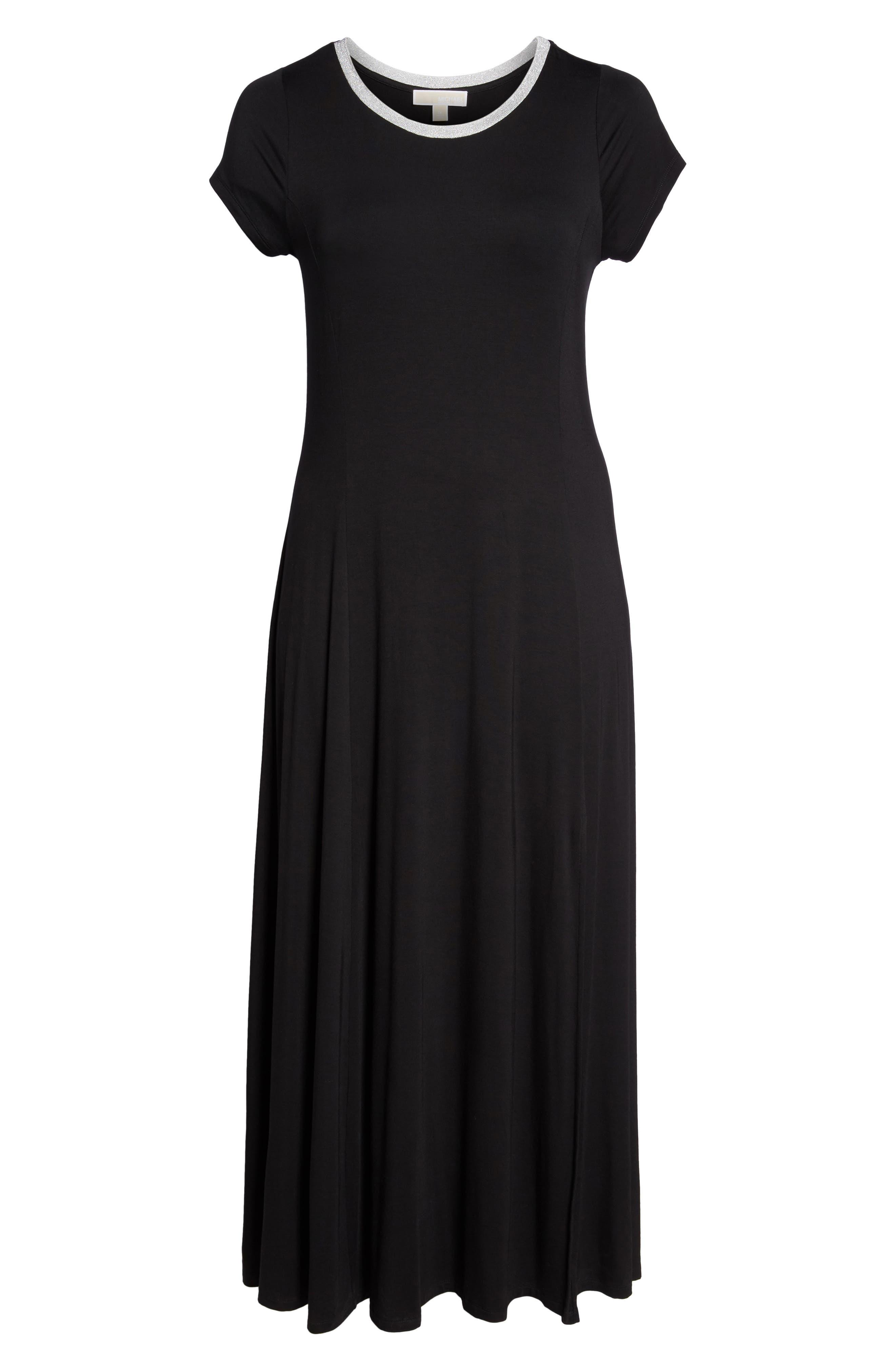 Metallic Crewneck Maxi Dress,                             Alternate thumbnail 6, color,                             001