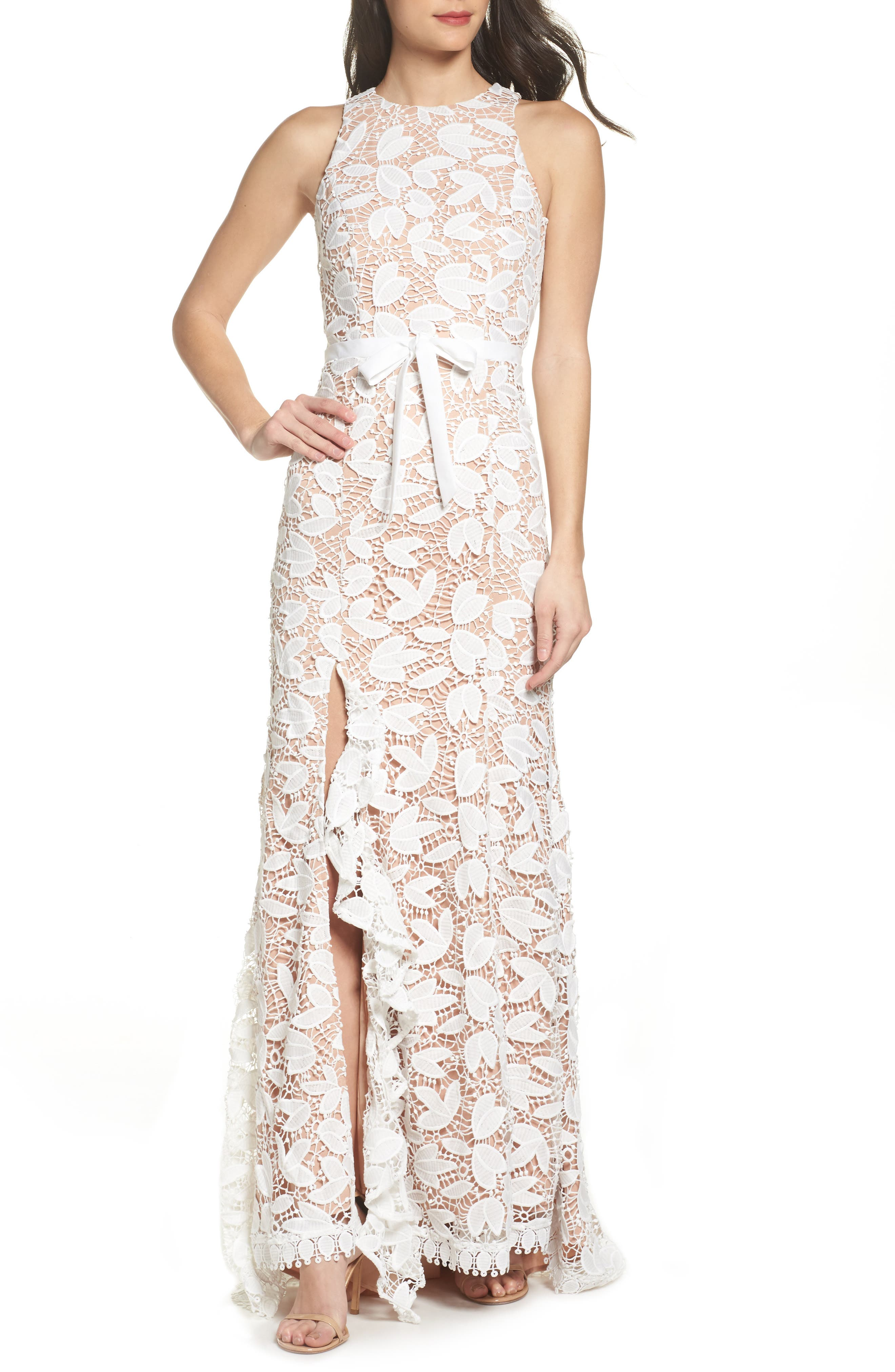 Petal Lace Gown,                         Main,                         color, IVORY