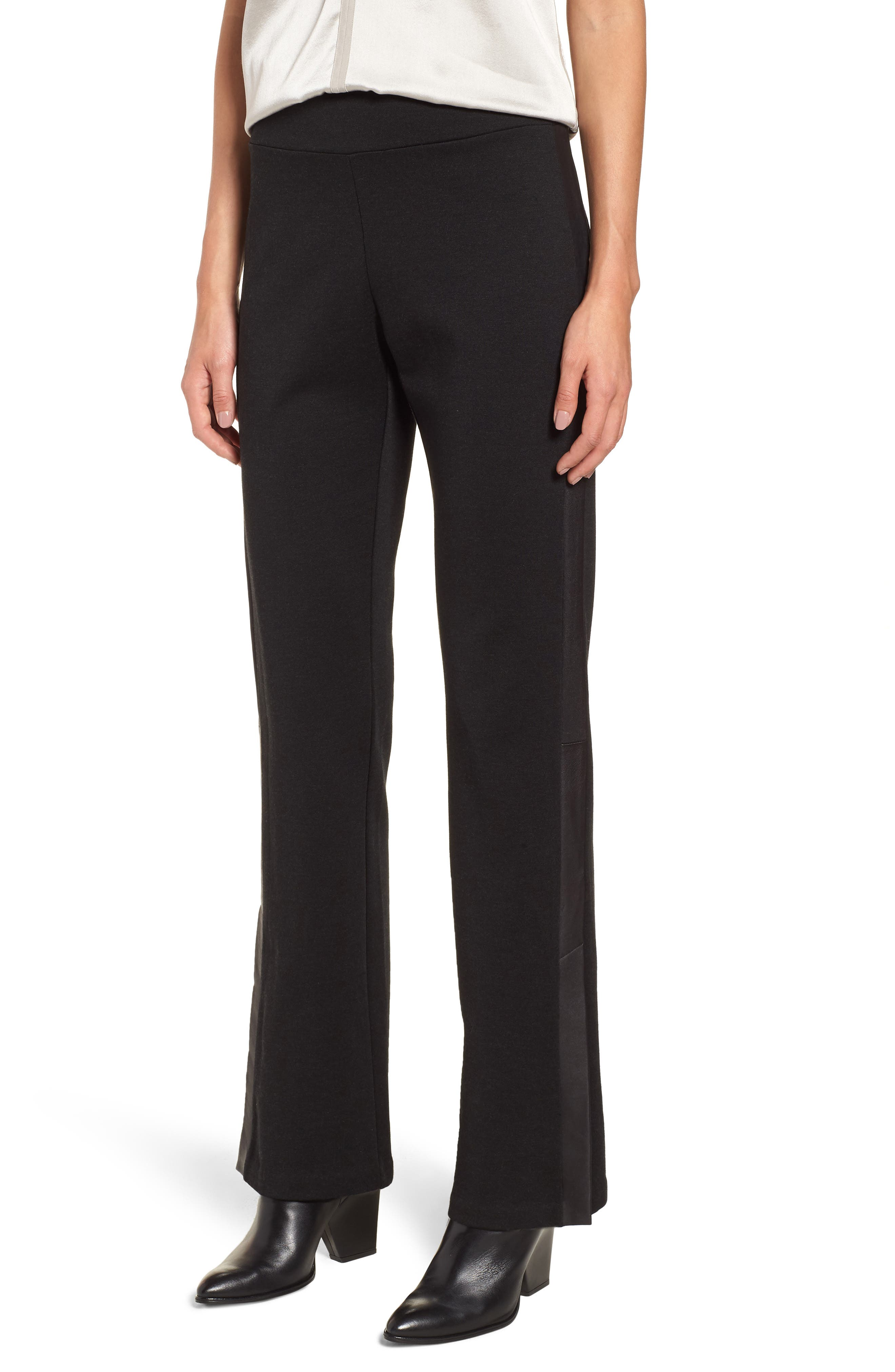 Slim Tuxedo Pants with Leather Stripe, Main, color, 001