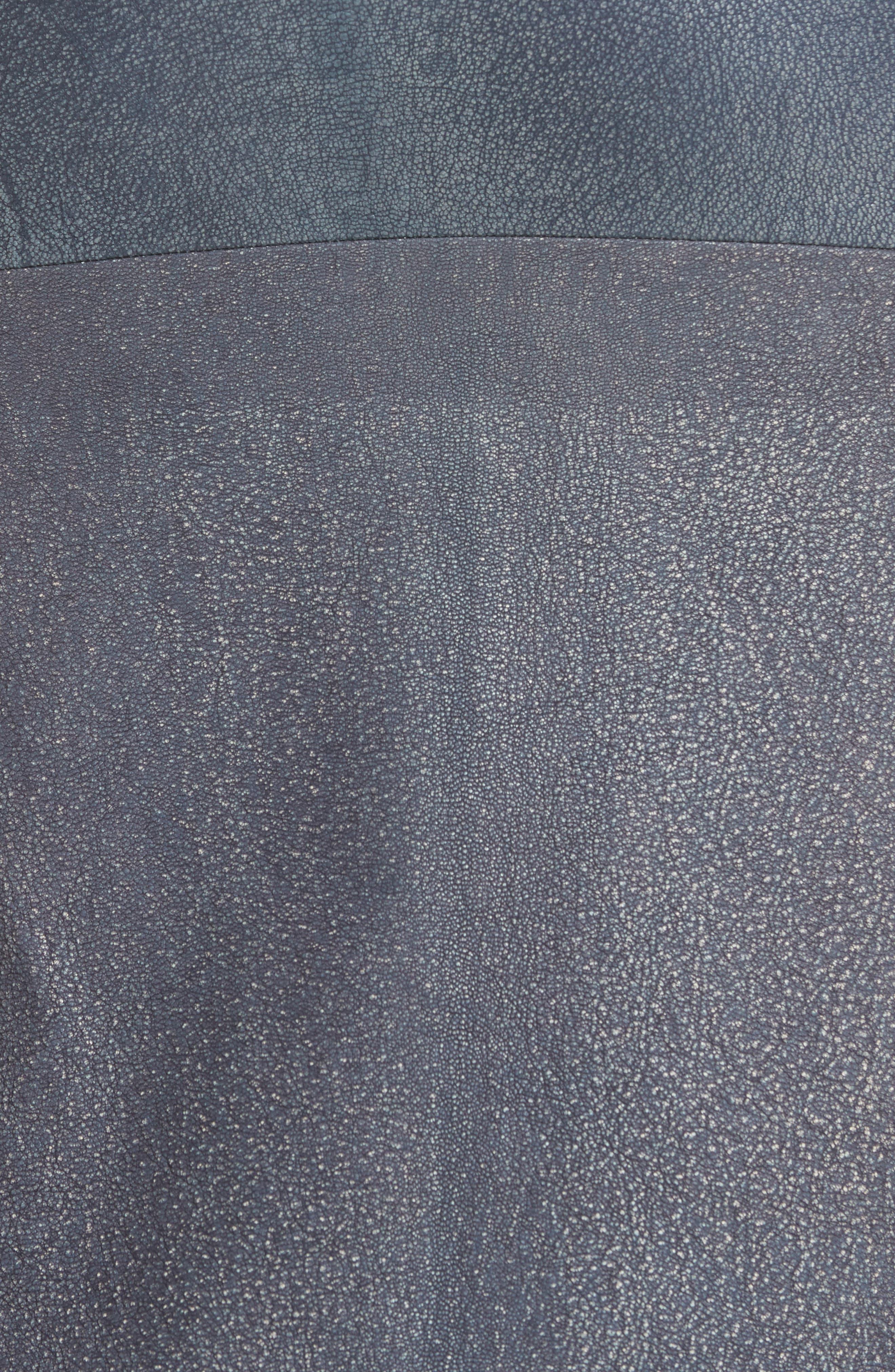 Rai Leather Curved Skirt,                             Alternate thumbnail 5, color,                             400