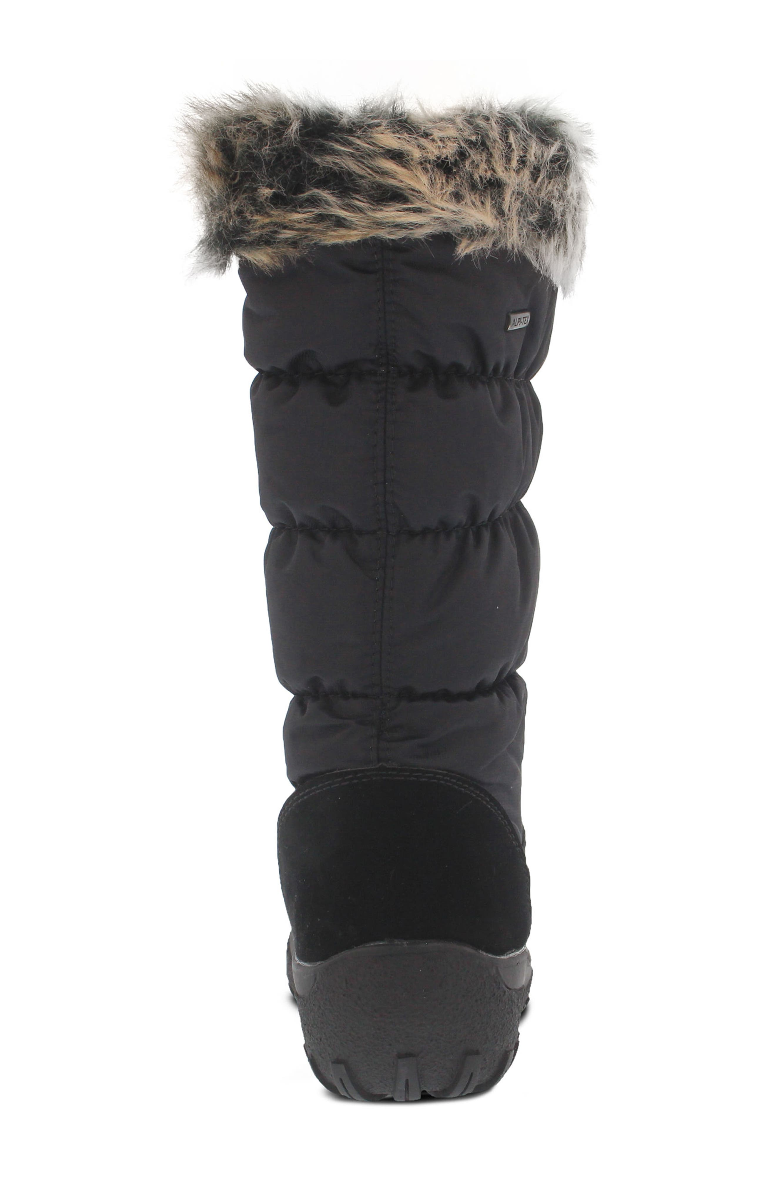 Vanish Faux Fur Trim Waterproof Boot,                             Alternate thumbnail 6, color,                             001